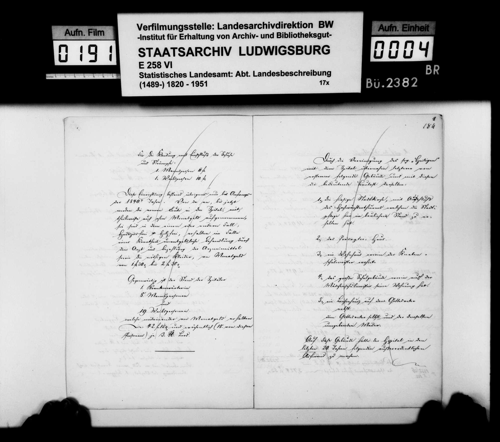 Bericht des Hospitalverwalters [Ludwig Friedrich Blum] aus Markgröningen über das Spital und die -stiftung v.a. im 19. Jh., Bild 3