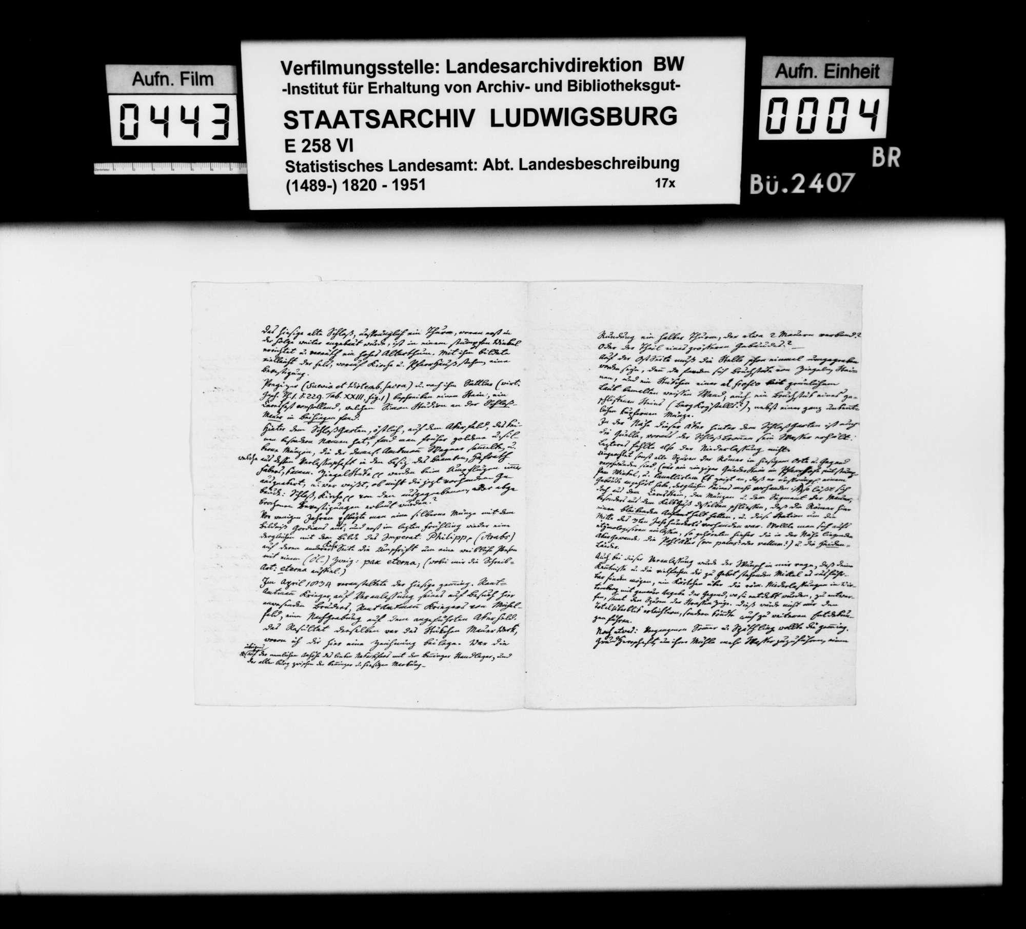 Korrespondenz mit verschiedenen Partnern zur römischen und mittelalterlichen Vergangenheit im Oberamtsbezirk, Bild 3