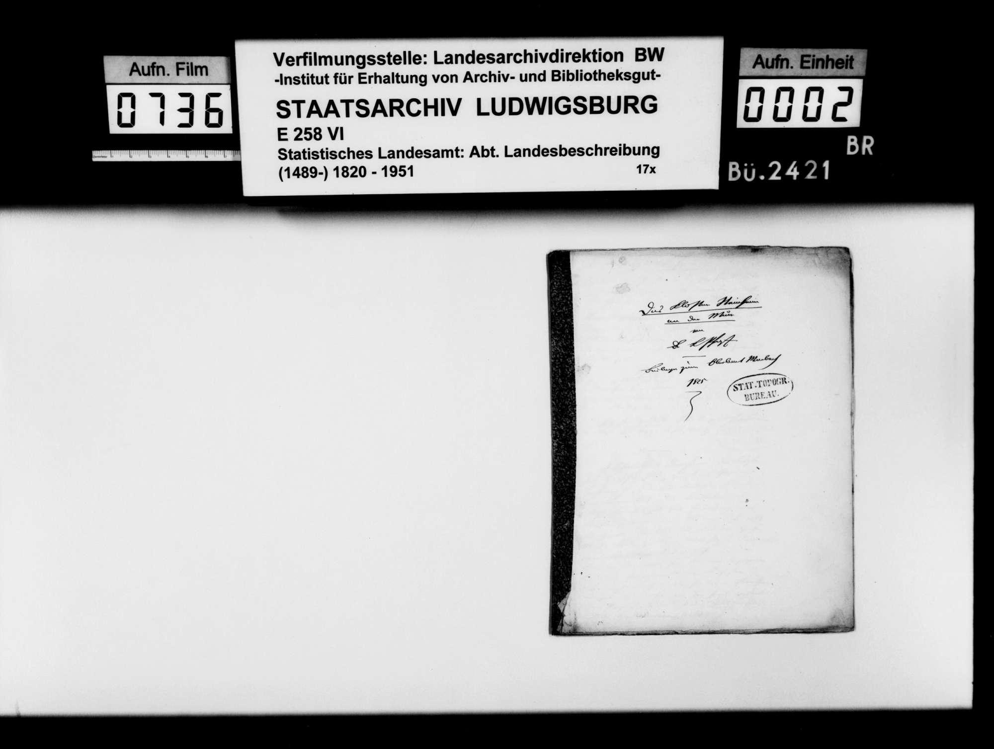 Beiträge des [Esslinger Konrektors] Karl Pfaff zur historiographischen Beschreibung des Oberamts, Bild 1