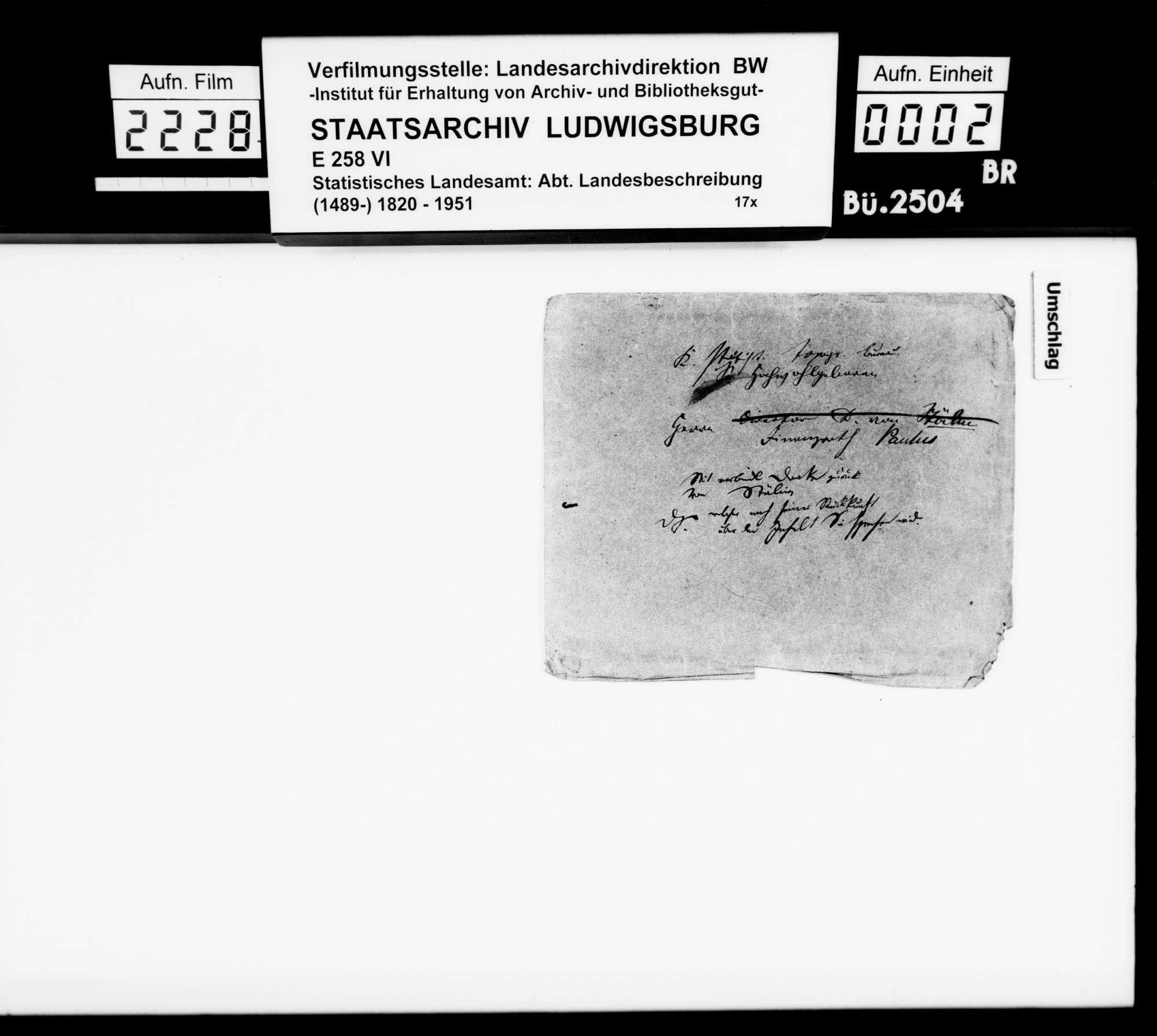 Übermittlung von Korrespondenz über Mitarbeiter und Hilfsmittel der OAB, von Finanzrat Karl Eduard Paulus an Bibliothekar Stälin, Bild 1
