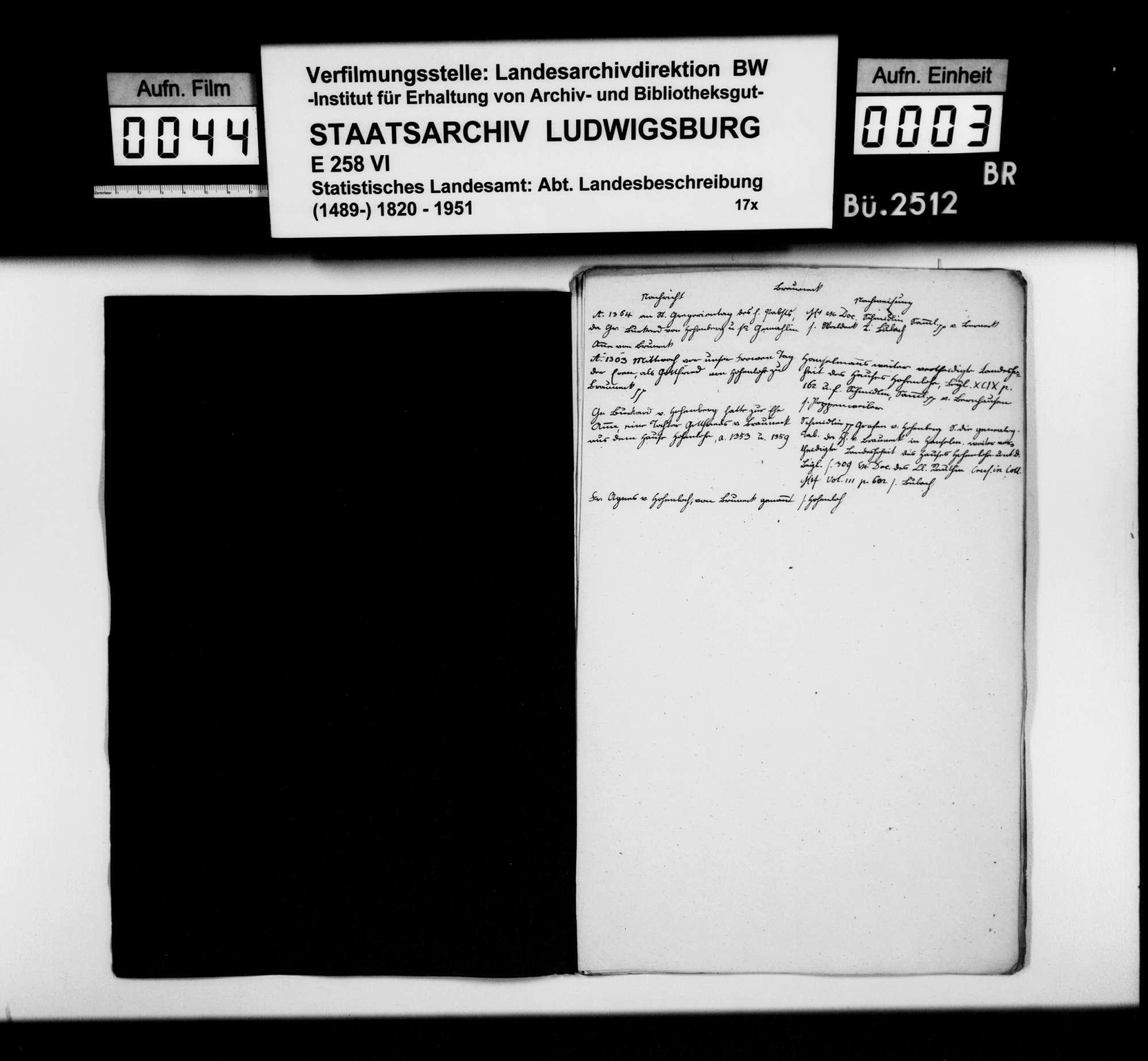 Kollektaneen des Finanzreferendärs Jäger zur Geschichte von Brauneck, Elpersheim, Finsterlohr, Mergentheim, Seldeneck und Stuppach, Bild 2