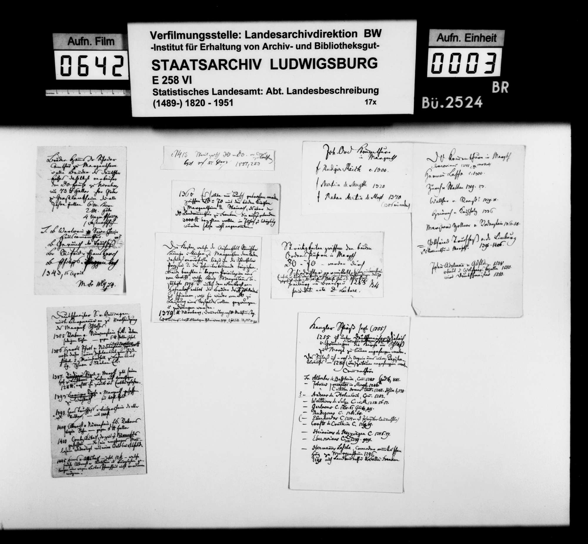 Notizen, Kurzregesten und Quellenauszüge [des Dekans Hermann Bauer aus Weinsberg] zur Geschichte von Mergentheim, Bild 2