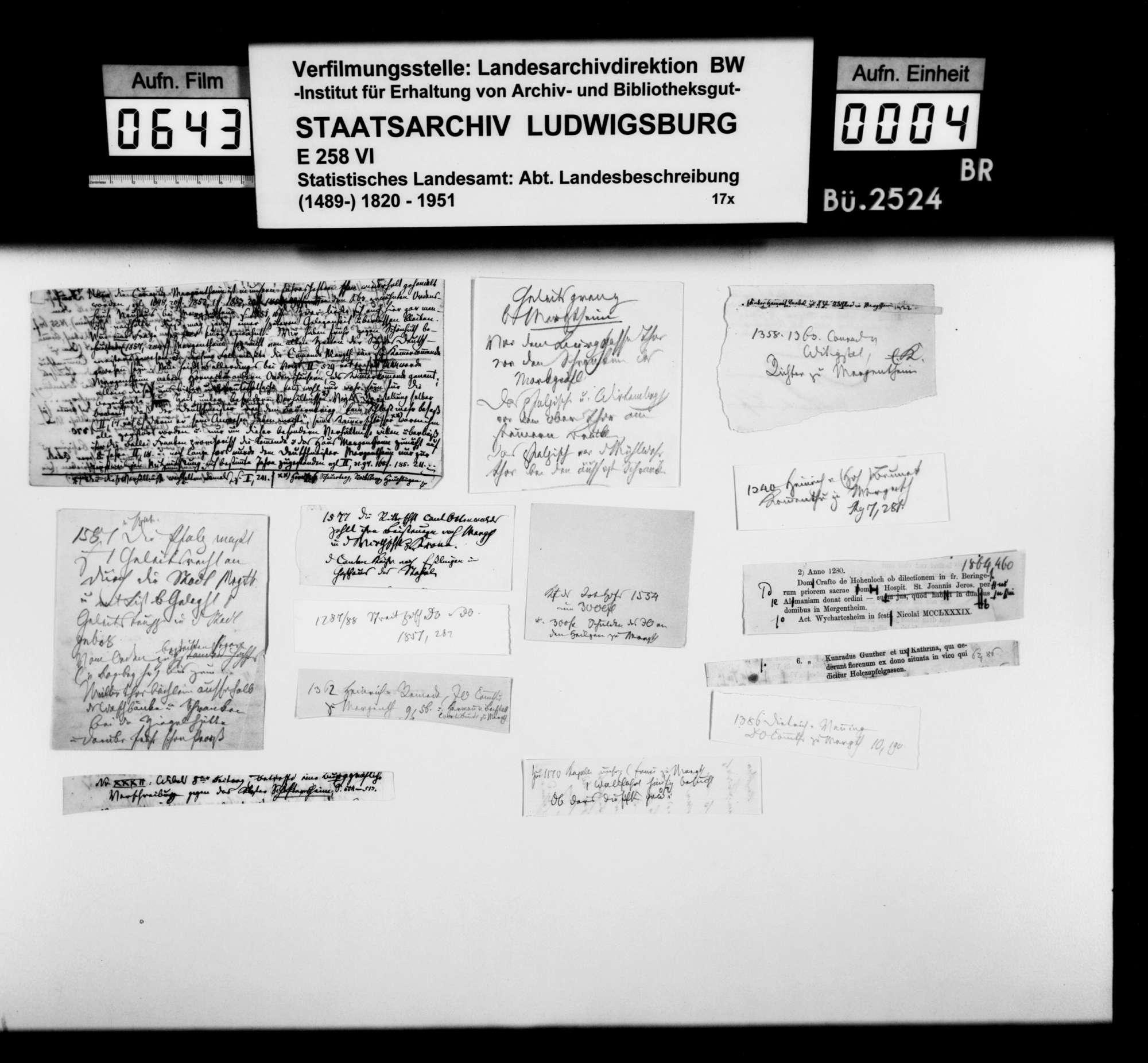 Notizen, Kurzregesten und Quellenauszüge [des Dekans Hermann Bauer aus Weinsberg] zur Geschichte von Mergentheim, Bild 3