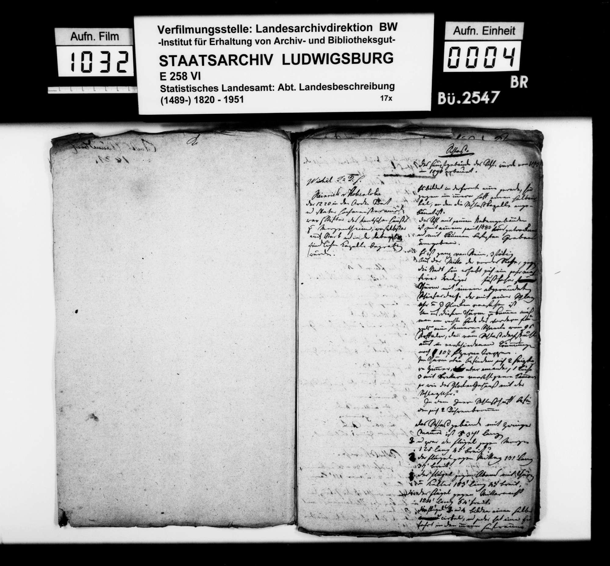 Exzerpte [des OAsarztes Christian Friedrich Bauer] aus dem Kameralamtsgrundbuch über öffentliche Gebäude in Mergentheim, Bild 2