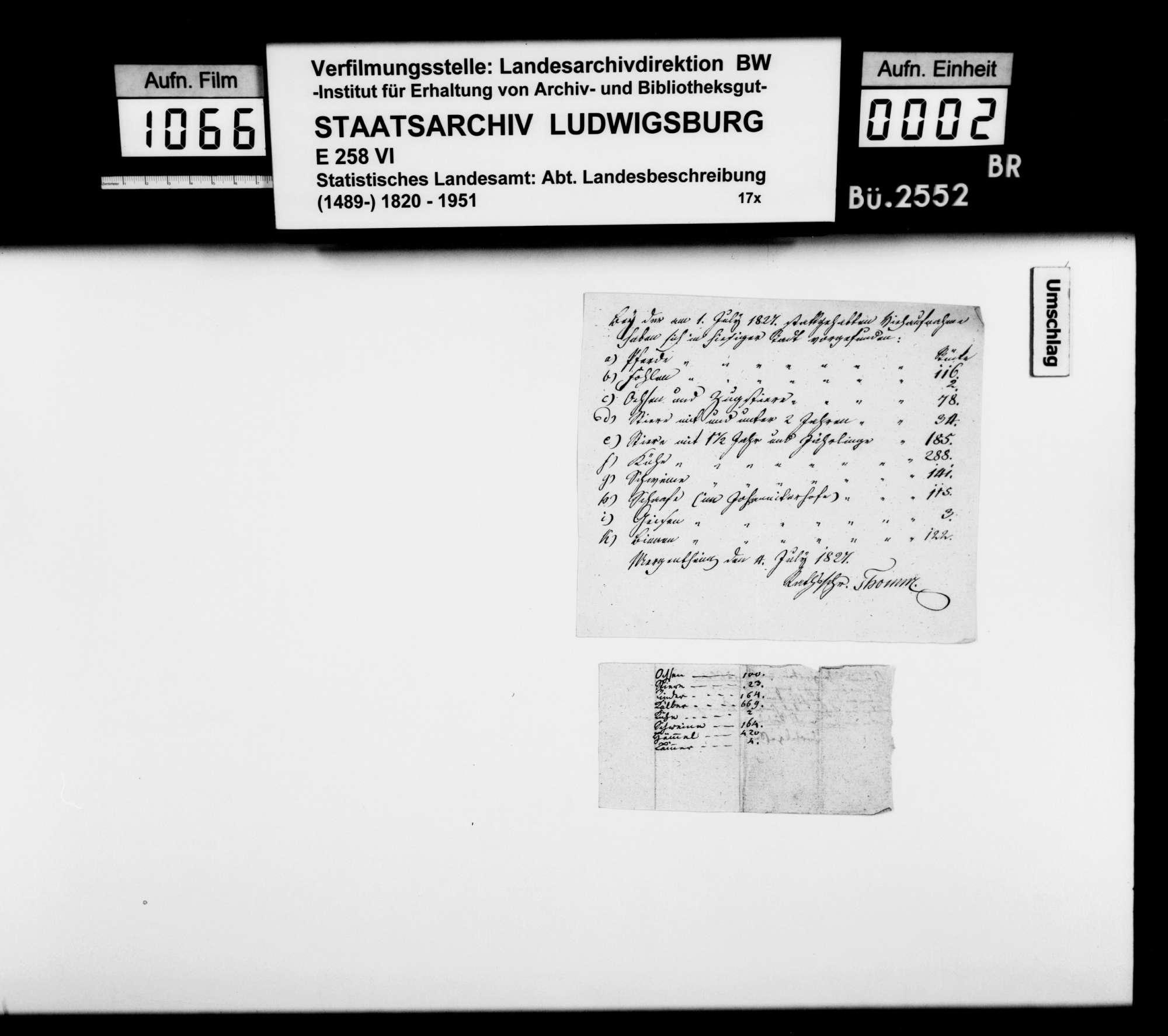 Viehzählungsergebnisse in Mergentheim 1827 und o.Dat. [aus der Sammlung des OAsarztes Christian Friedrich Bauer], Bild 1