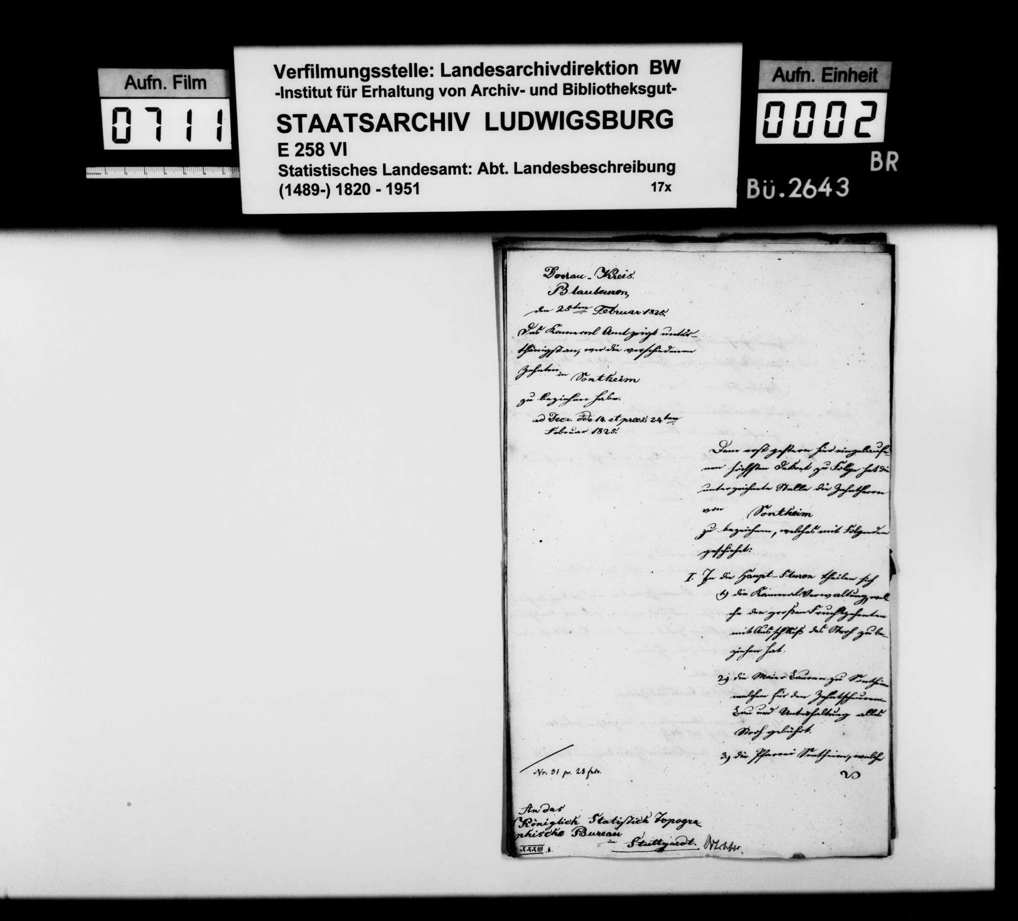 Auskünfte des Kameralamts Blaubeuren auf Nachfragen des Professors Memminger, Bild 1