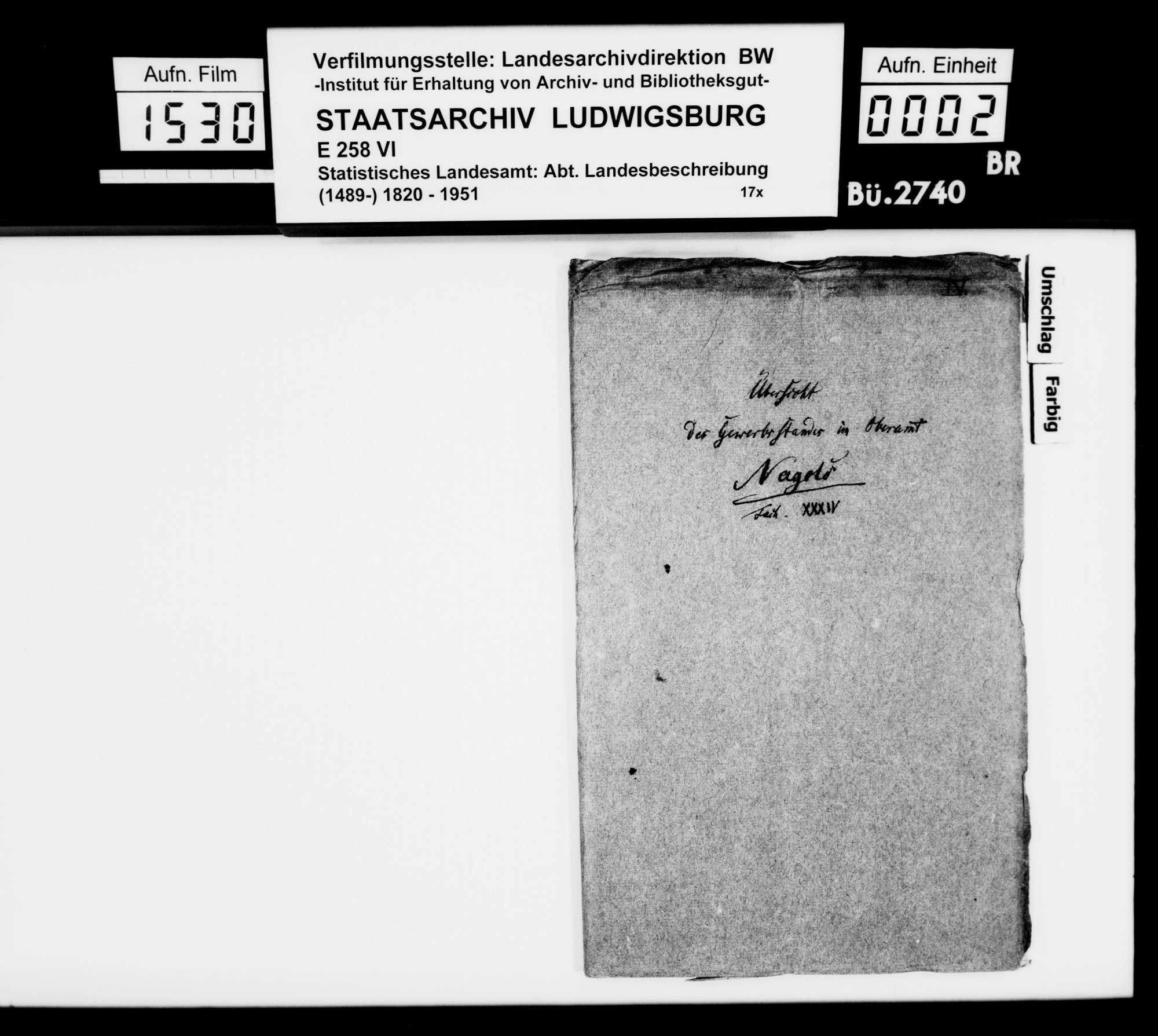 Gewerbestatistik des Oberamts und der Stadt Wildberg sowie Stiftungen in Wildberg, Bild 1