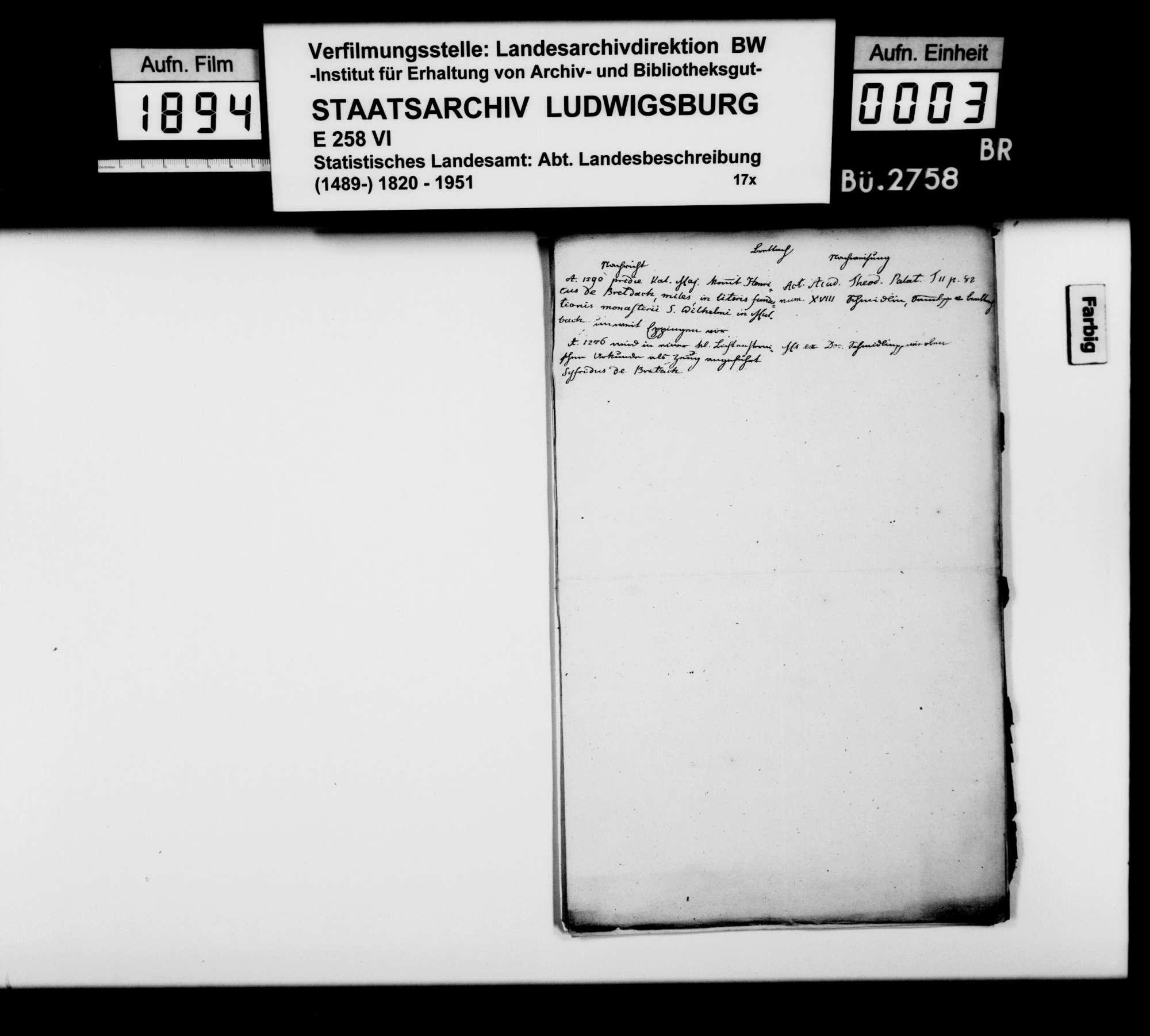 Kollektaneen des Finanzreferendärs Jäger zur Geschichte von Brettach, Bürg, Gundelsheim, Jagsthausen, Möckmühl, Neckarsulm, Neuenstadt, Oedheim und Widdern v.a. im 15. und 16. Jh., Bild 2
