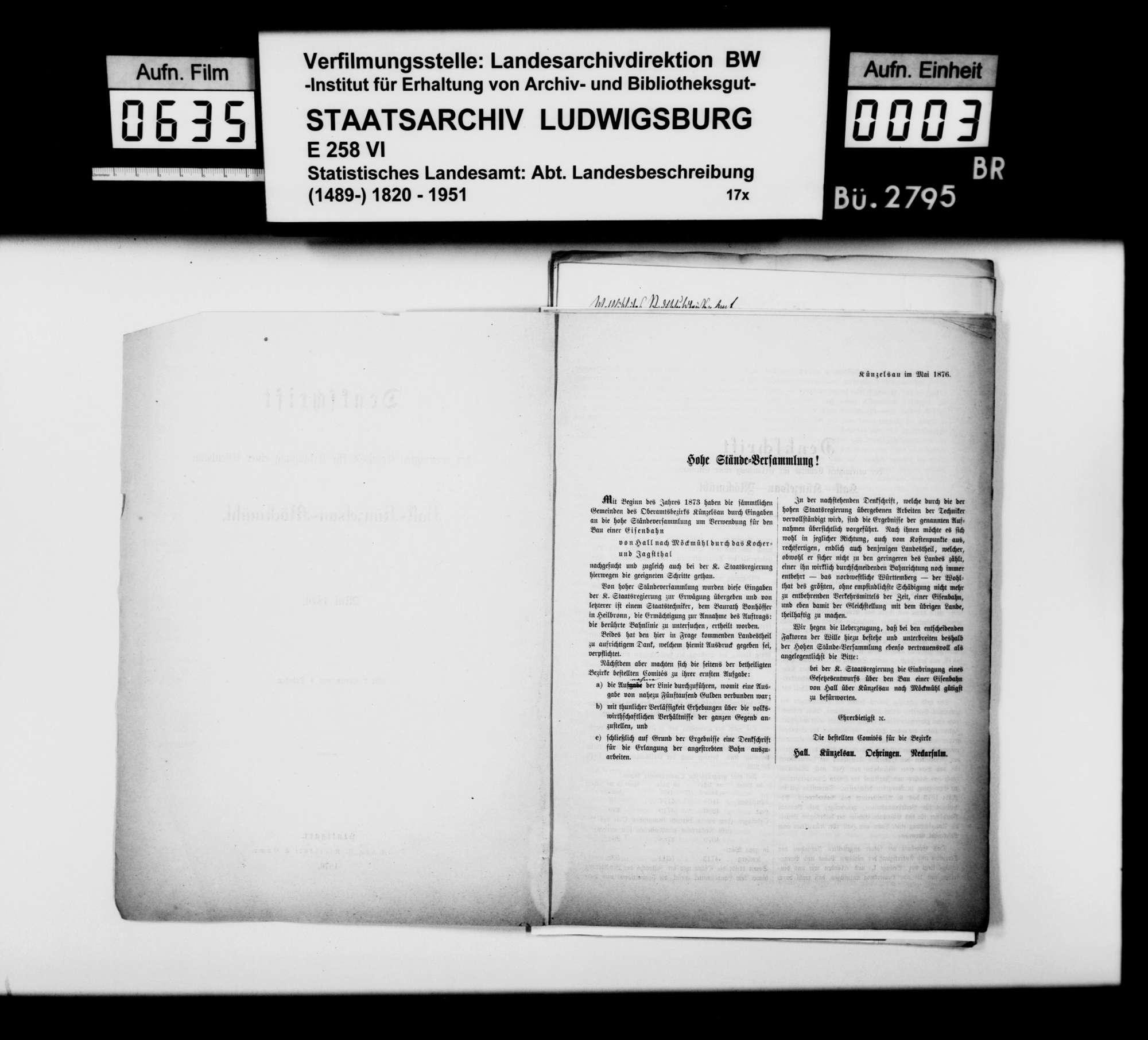 Nachrichtenakquisition des Finanzrats Roth aus Neuenstadt für die Bearbeitung der Geschichte von Möckmühl, Bild 2