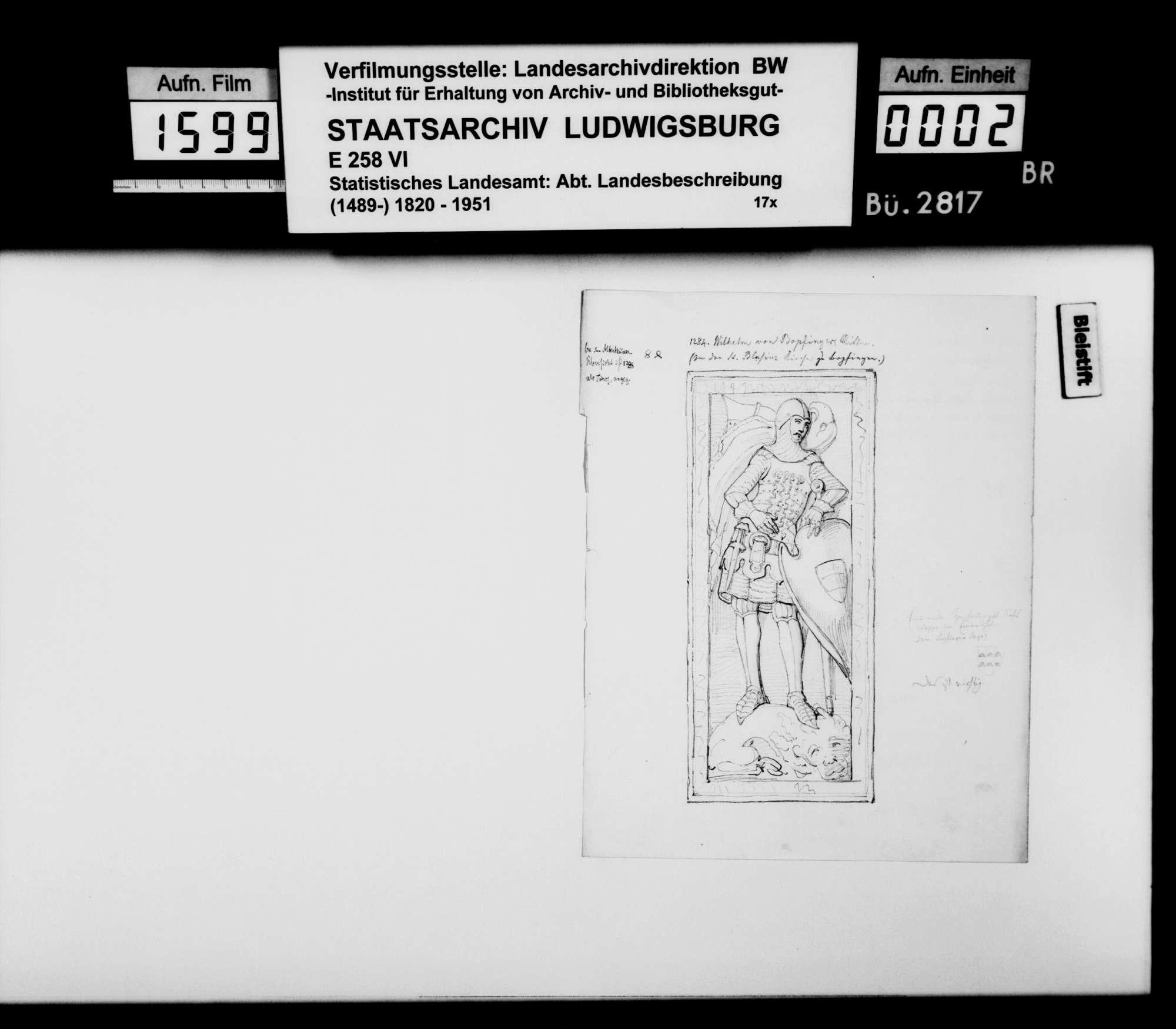Zeichnungen und Inschriften von Grabdenkmälern in der Blasiuskirche Bopfingen, s/w, Bleistift und Tinte, Bild 1