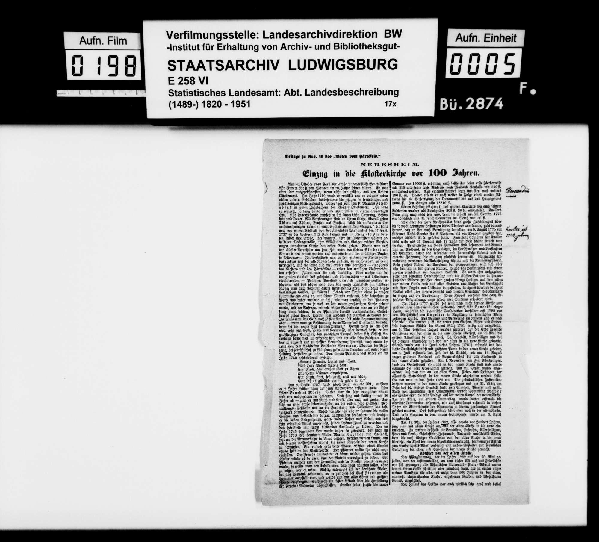 Sammlung gedruckten Materials für eine Neubearbeitung der OAB, [vermutlich übersandt und] teilweise verfaßt von Pater Paulus Weißenberger O.S.B. aus Neresheim, Bild 2