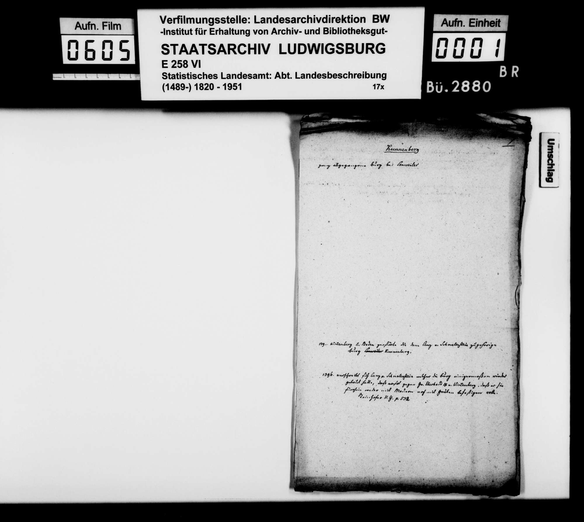 Kollektaneen des Rechtskonsulenten [Karl] von Alberti zur Geschichte des Adels und der Schlösser, Burgen und Ruinen im Oberamtsbezirk, Bild 2