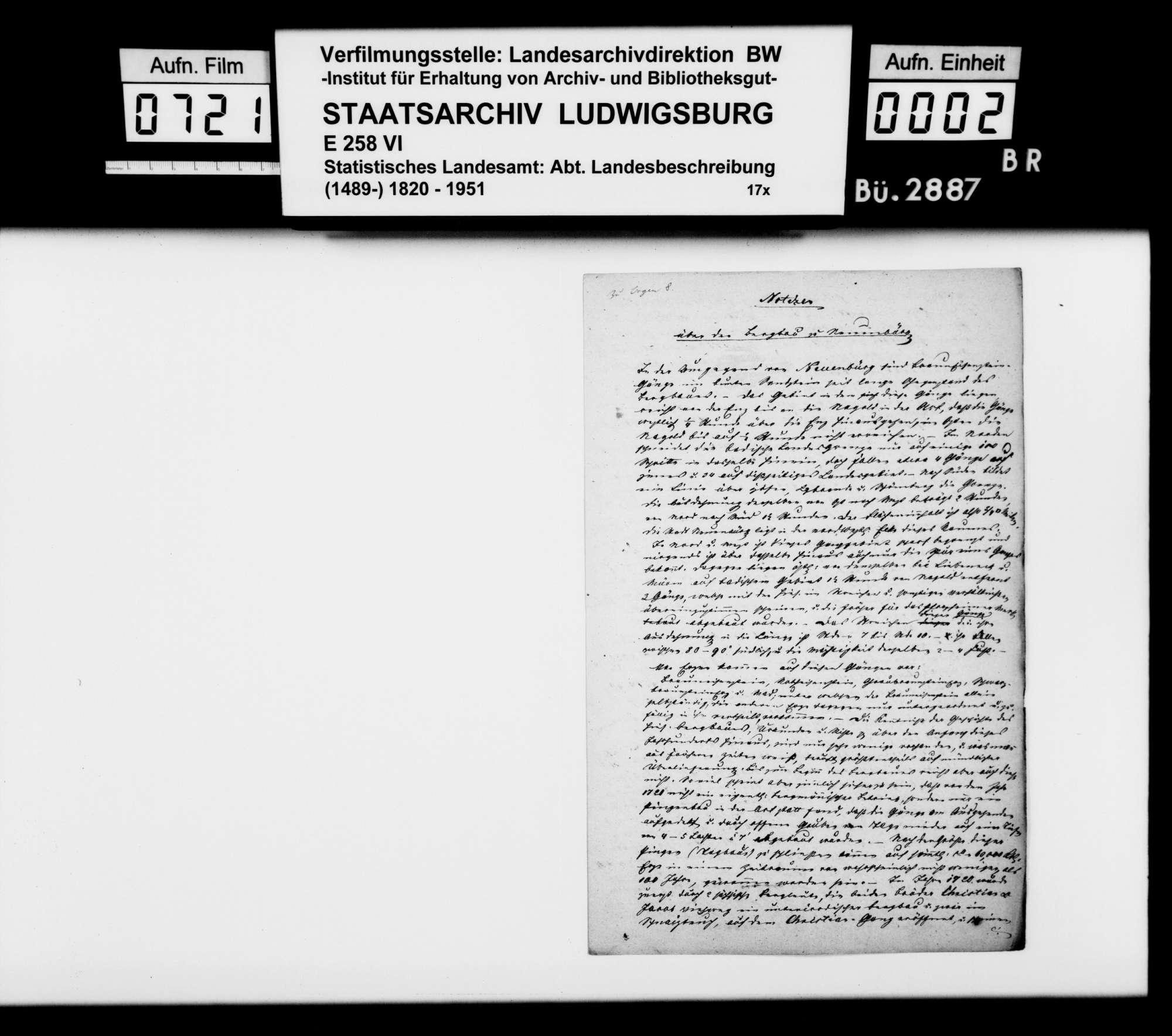 Bemerkungen des Obersteigers Schenk zum Bergbau in der Gegend um Neuenbürg, o.Dat., Bild 1