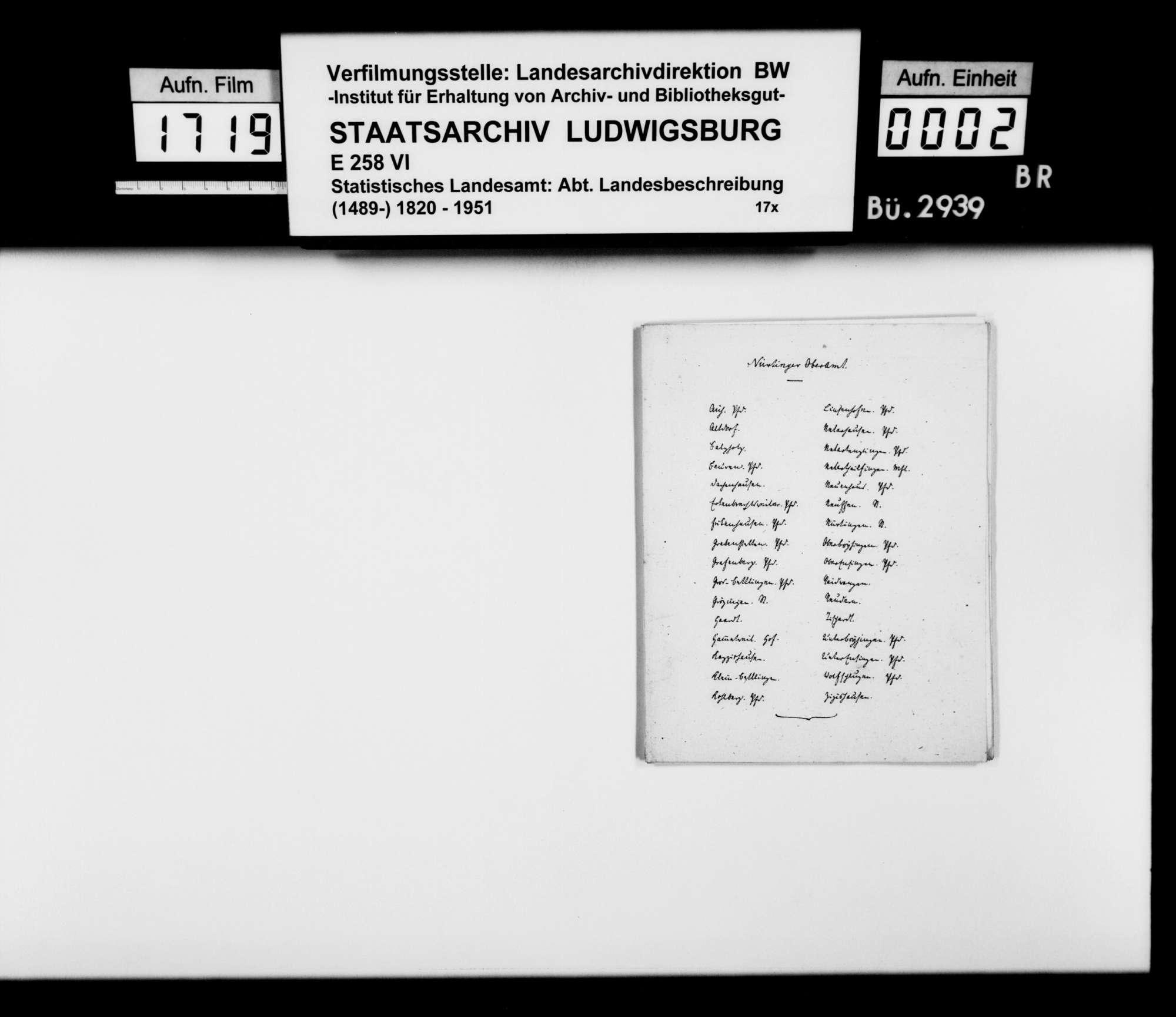 Auszüge des Buchhalters Weber aus den Kollektaneen Schmidlins im Staatsarchiv Stuttgart zu den Herren von Tachenhausen, zu Rechtsgeschäften im Oberamtsbezirk v.a. im 14./15. Jh., zu den Orten Aich, Altdorf, Balzholz, Beuren und Tachenhausen, sowie eine Zusammenstellung der Pfarrer, Diakone und Präzeptoren in Nürtingen 1547-1820, Bild 1
