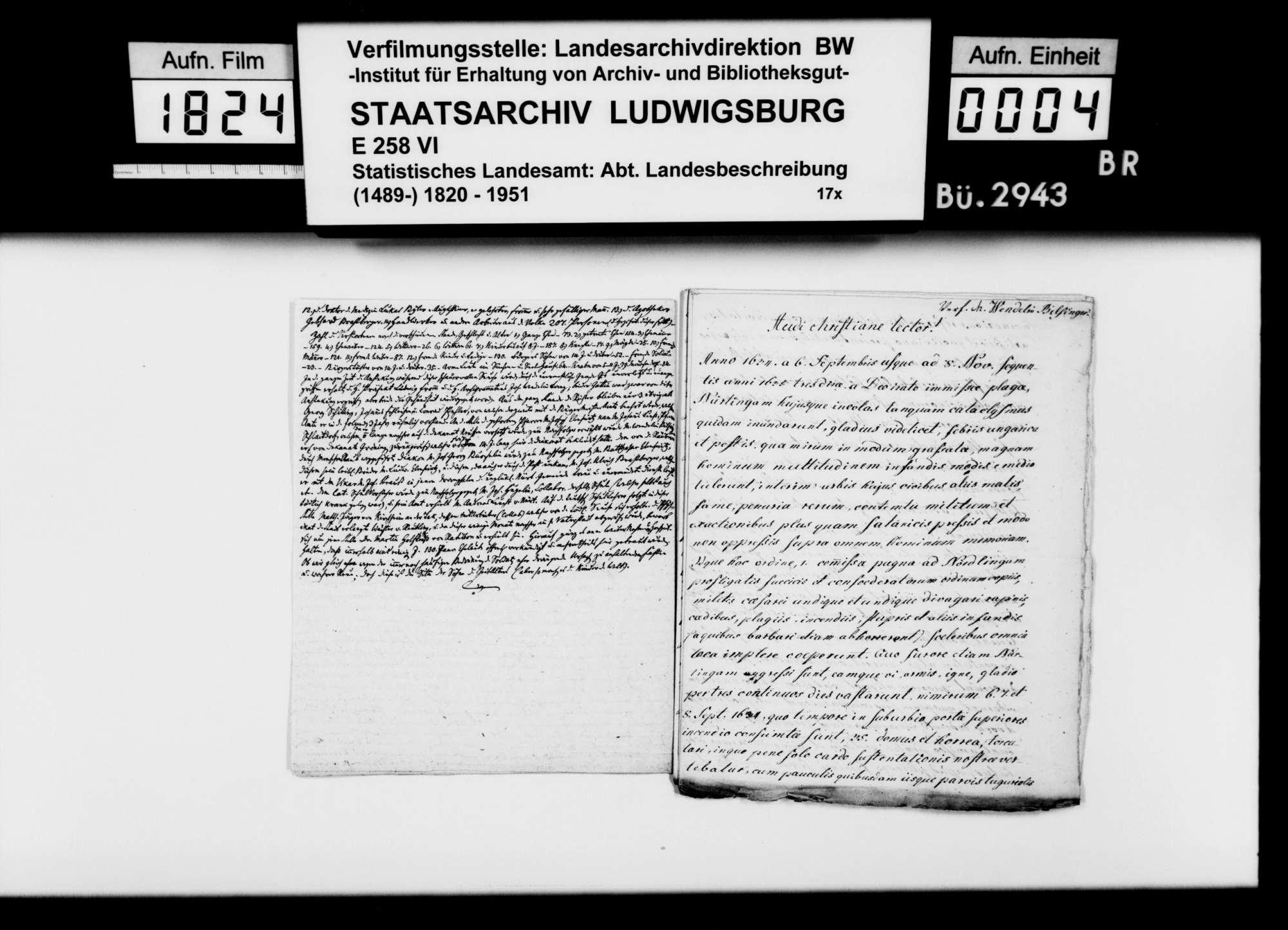 Darstellung der Kriegsereignisse in Nürtingen 1634/35, von [Stadtpfarrer] Johann Wendelin Bilfinger [gestorben 1661], Latein mit deutscher Übersetzung, Bild 3