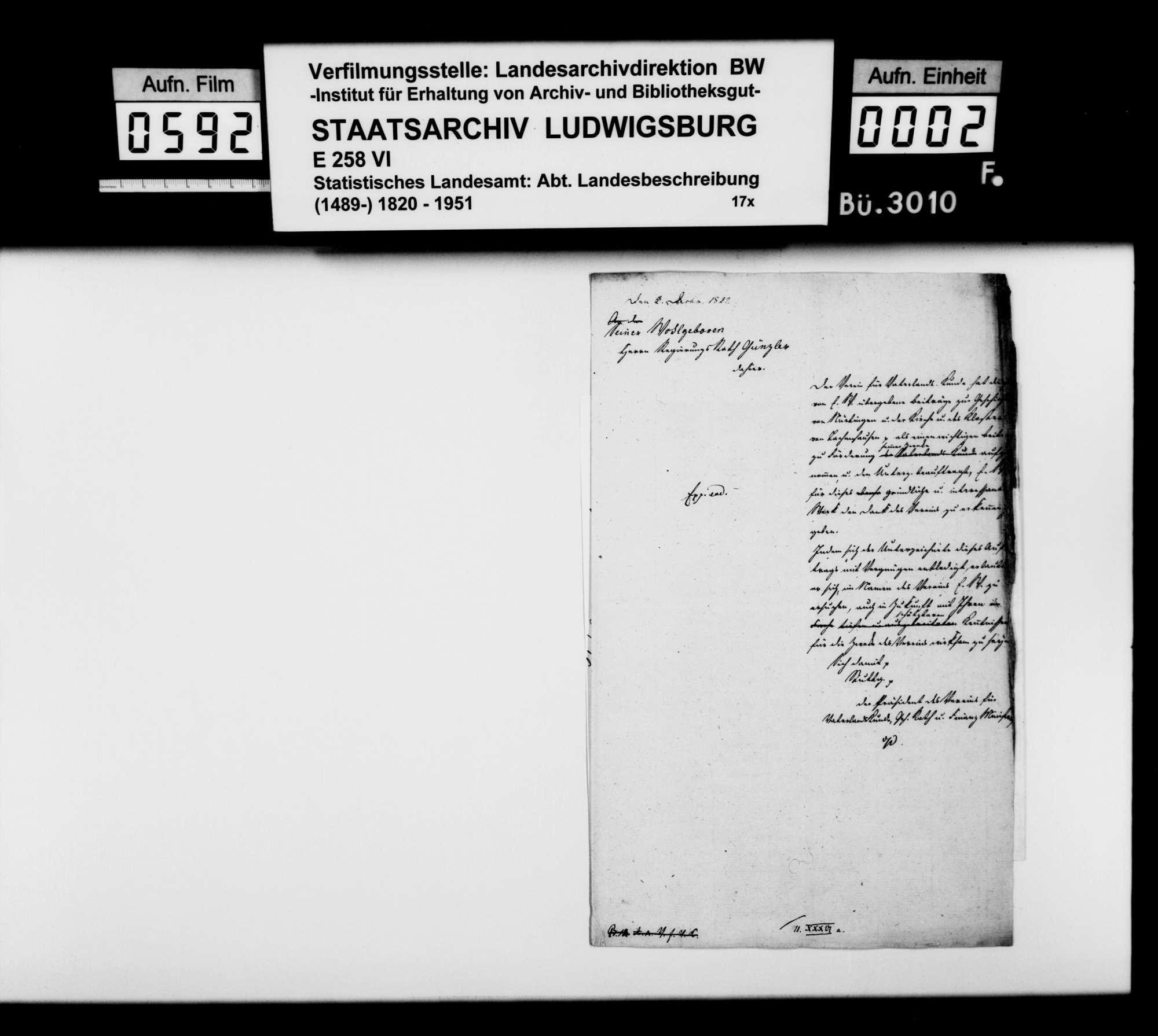 Korrespondenz mit verschiedenen Partnern wegen Geschichte und Beschreibung des Oberamts Nürtingen und Umgebung, Bild 1