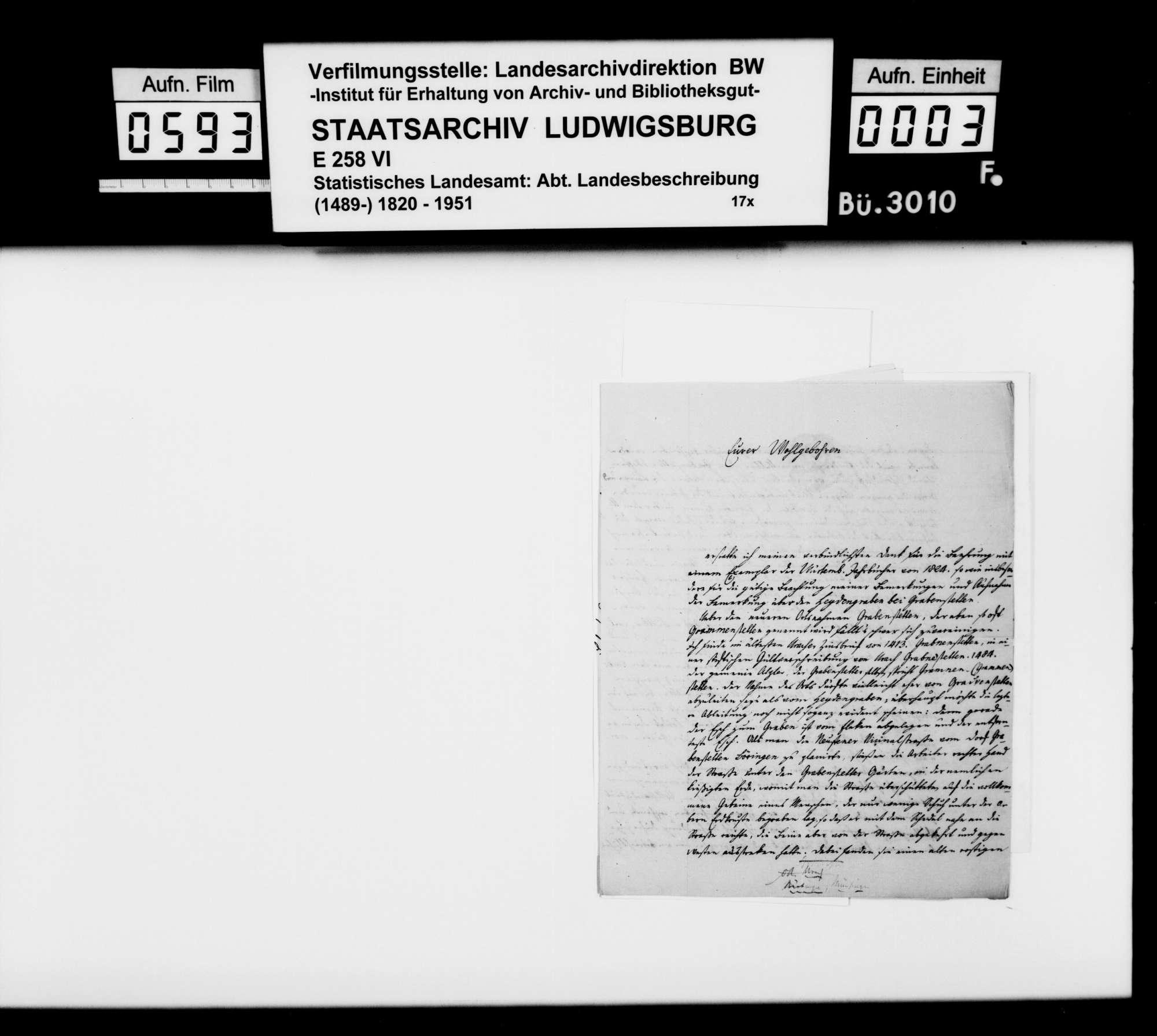 Korrespondenz mit verschiedenen Partnern wegen Geschichte und Beschreibung des Oberamts Nürtingen und Umgebung, Bild 2
