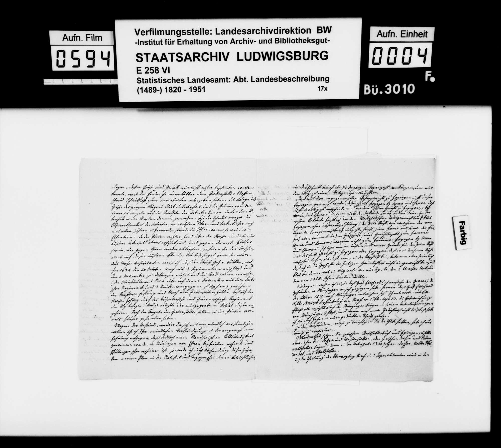 Korrespondenz mit verschiedenen Partnern wegen Geschichte und Beschreibung des Oberamts Nürtingen und Umgebung, Bild 3