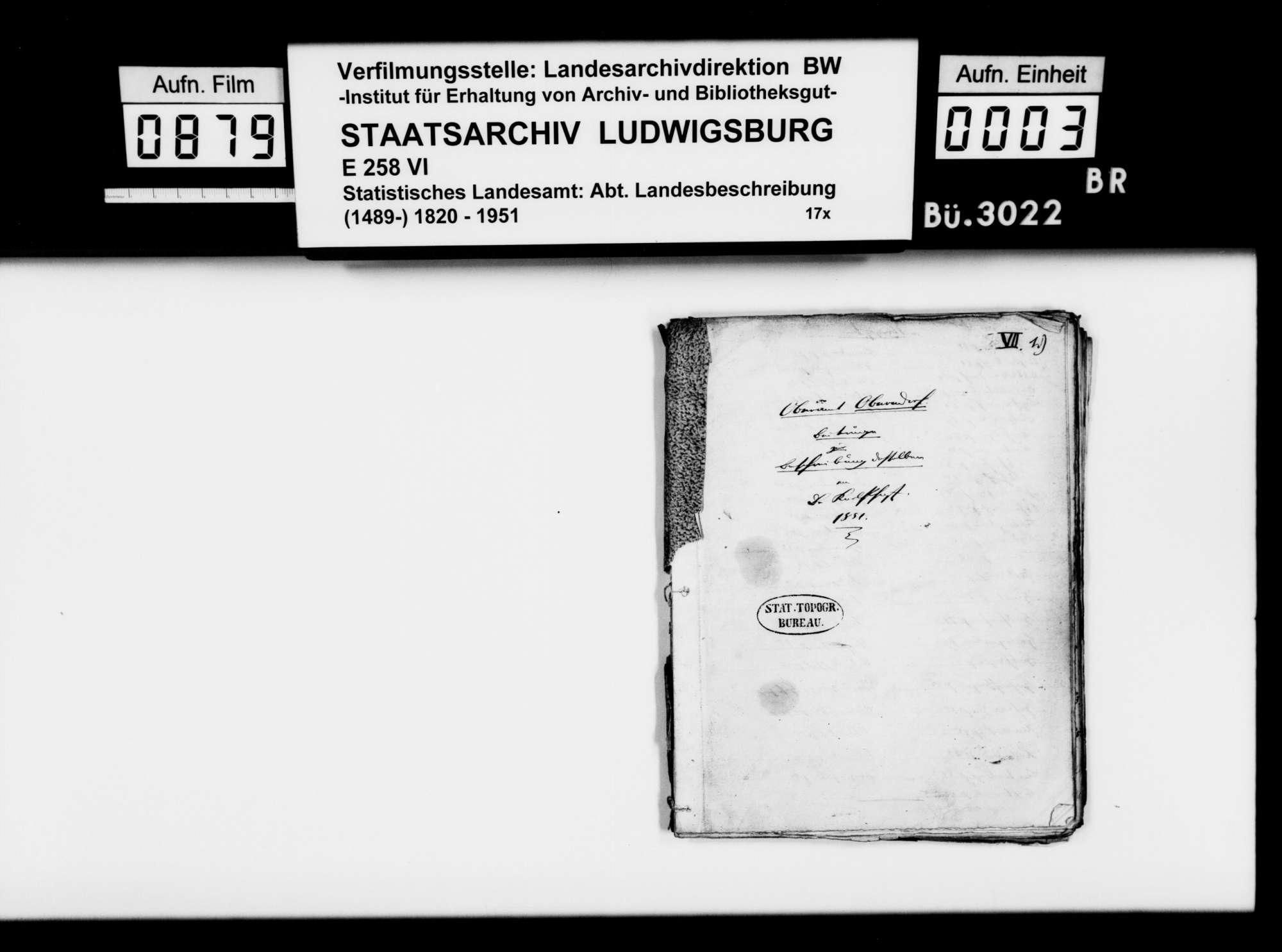 Beiträge des [Konrektors] Karl Pfaff [aus Esslingen] zur historiographischen Beschreibung des Oberamts, Bild 1