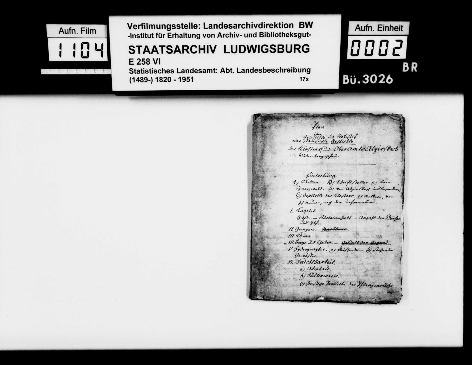 Auszüge aus verschiedenen Quellen zur Geschichte des Klosters und Amts Alpirsbach, von Rechnungsprobator Frisch, Bild 1