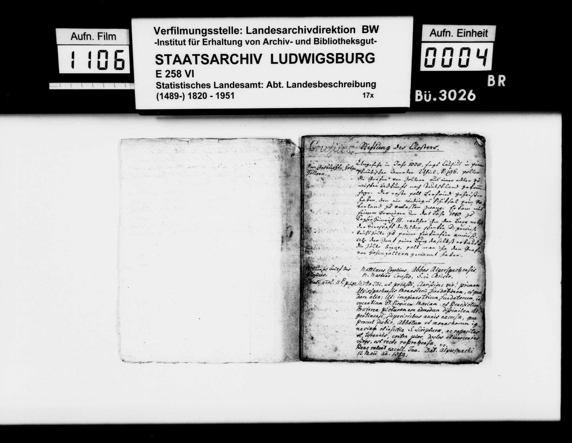 Auszüge aus verschiedenen Quellen zur Geschichte des Klosters und Amts Alpirsbach, von Rechnungsprobator Frisch, Bild 3