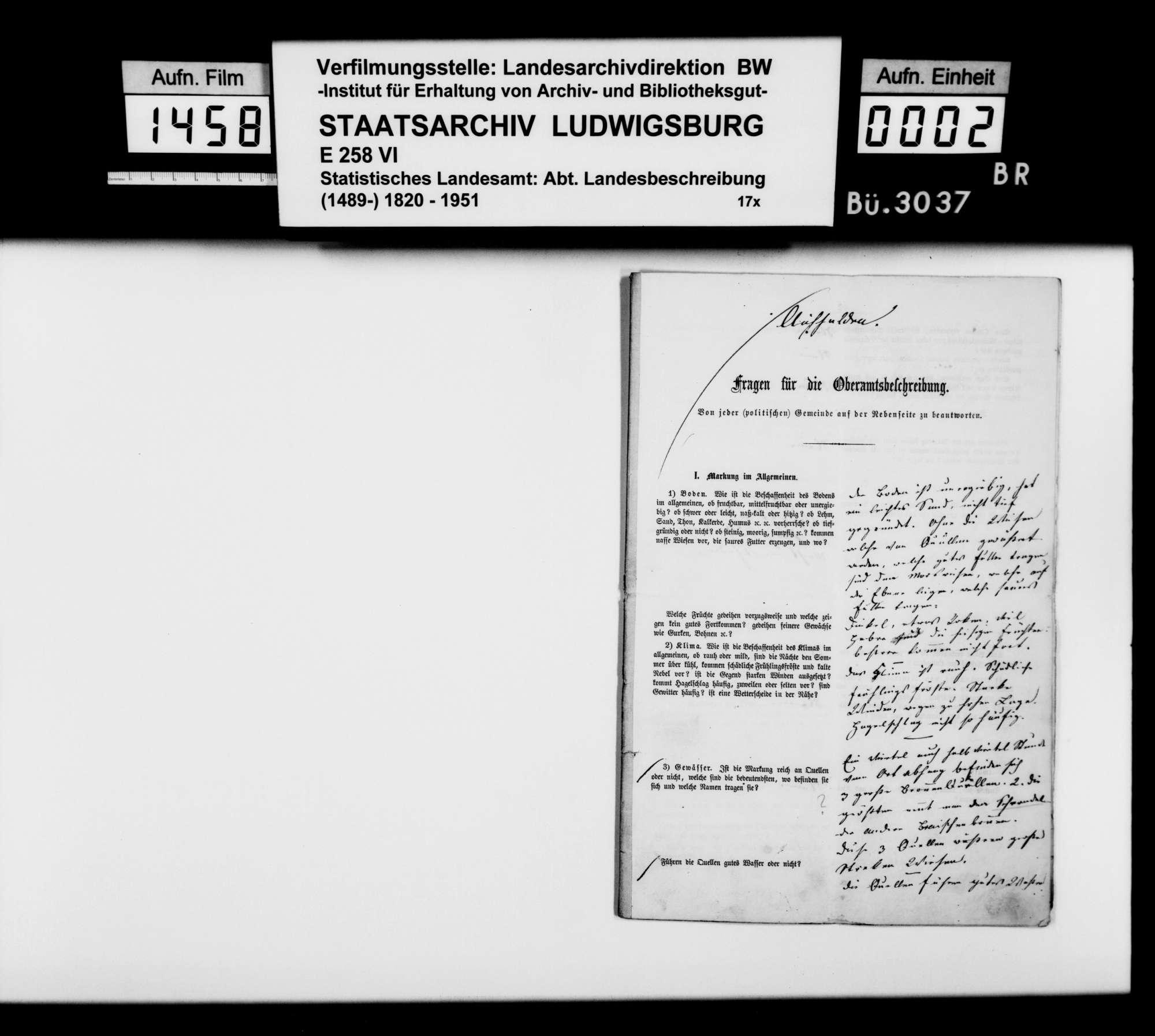 Ortsbeschreibung von Aichhalden mit dem vom Gemeinschaftlichen Amt beantworteten gedruckten Fragebogen des STBs, 1866, Bild 1