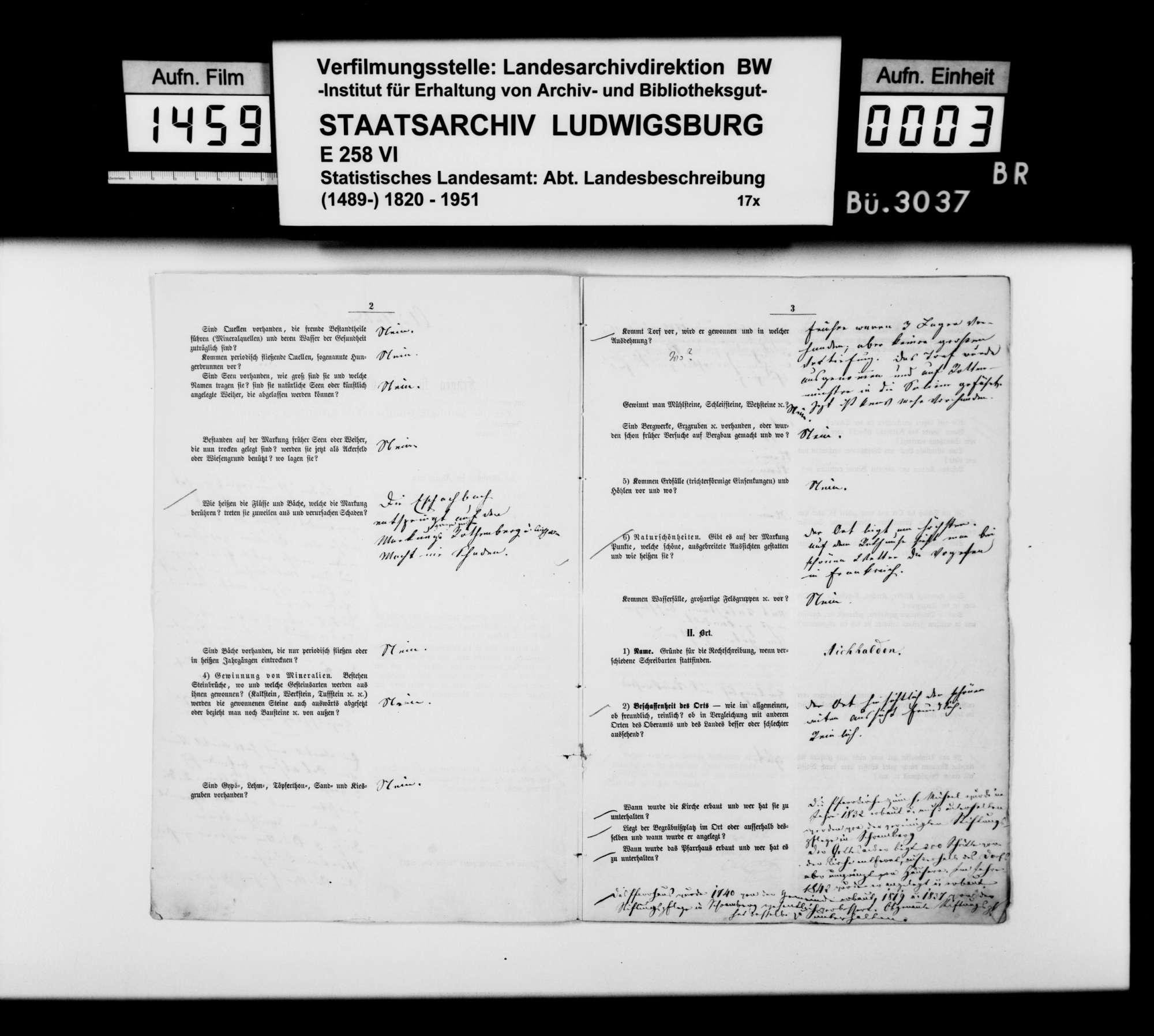 Ortsbeschreibung von Aichhalden mit dem vom Gemeinschaftlichen Amt beantworteten gedruckten Fragebogen des STBs, 1866, Bild 2