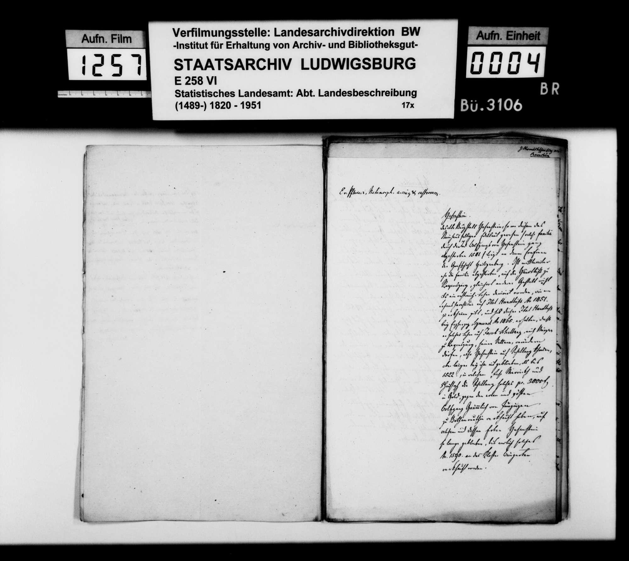 Verschiedene historiographische Notizen, Auszüge und Abschriften zur OAB, Bild 3