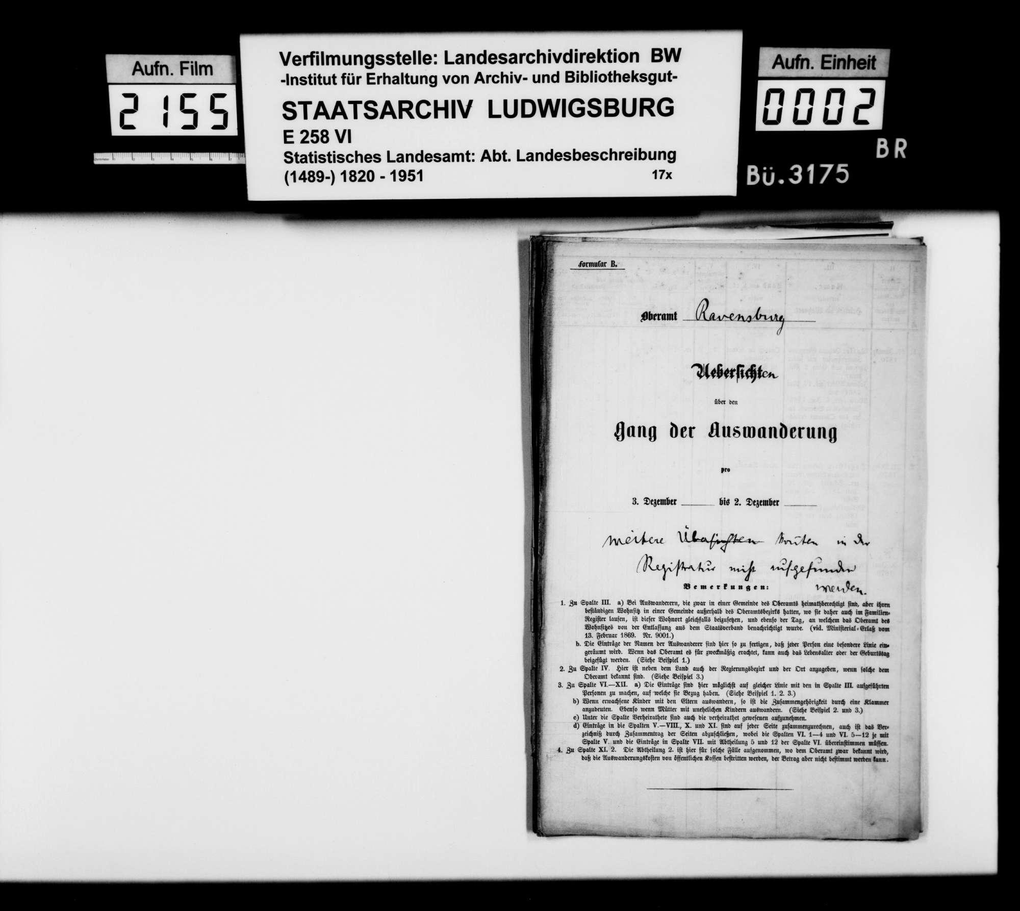 Übersichten über den Gang der Auswanderung aus dem und der Einwanderung in das Oberamt, 1838 bis 1841, 1852, 1868-1871, Bild 1