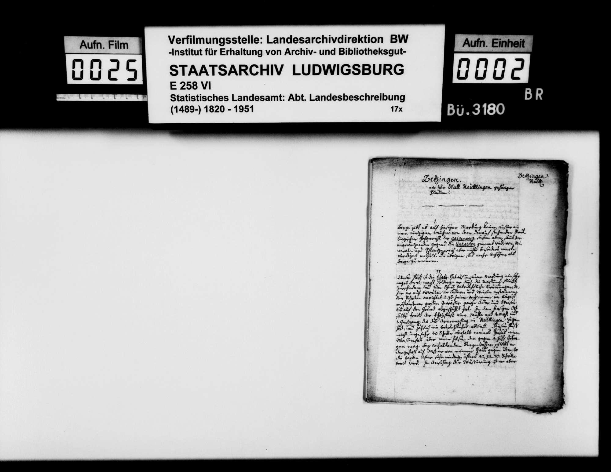 Auskünfte des Pfarrers Kenngott aus Betzingen auf den Fragenkatalog [des Stuttgarter Gymnasialprofessors Gottlieb Friedrich Rösler zur Naturgeschichte von Württemberg; hier in Kopie Röslers], Bild 1