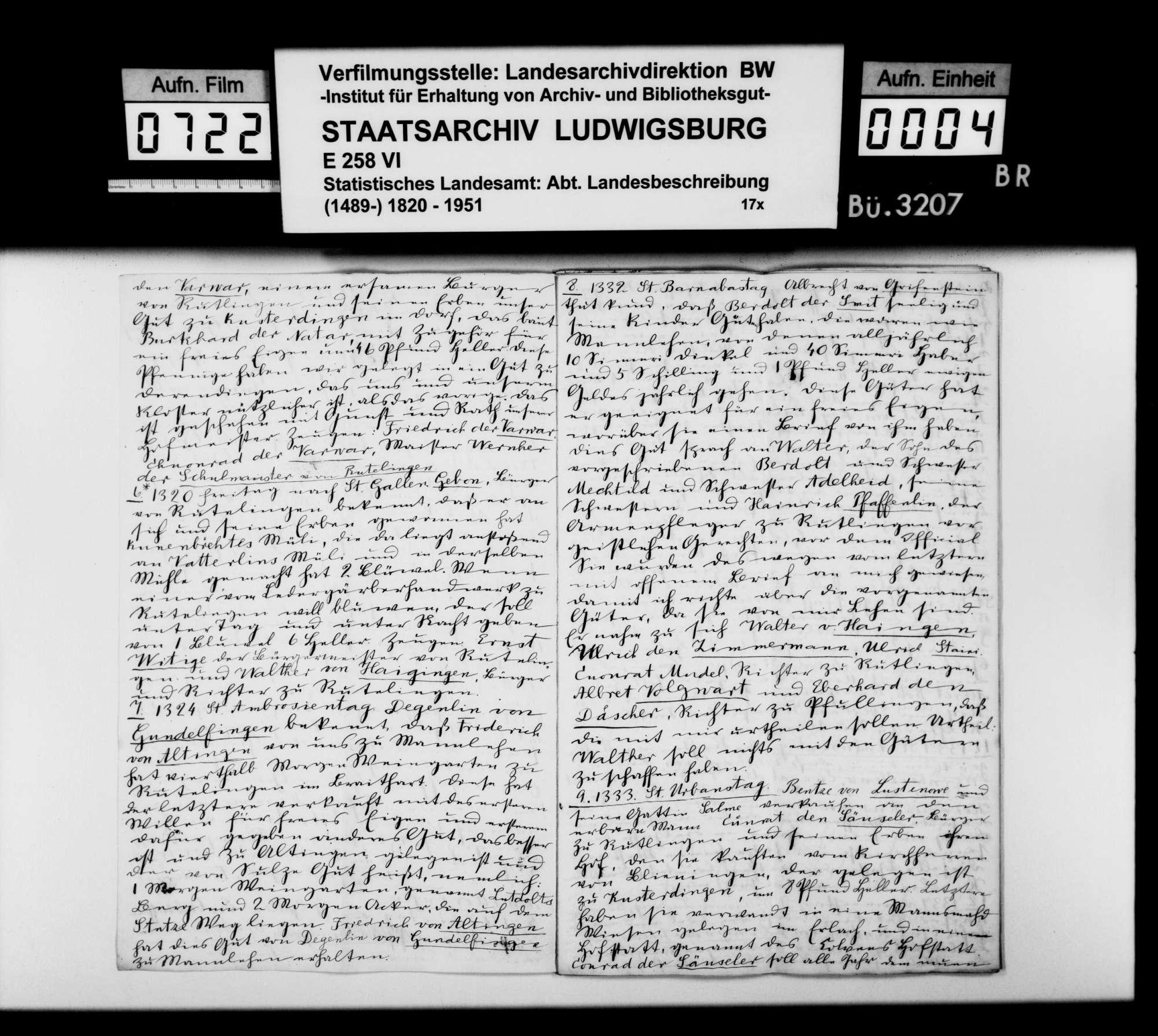 Regesten zur Geschichte von Reutlingen im 15. und 16. Jh., im Reutlinger Stadtarchiv erstellt von dem Stuttgarter Privatgelehrten Theodor Schön, Bild 3