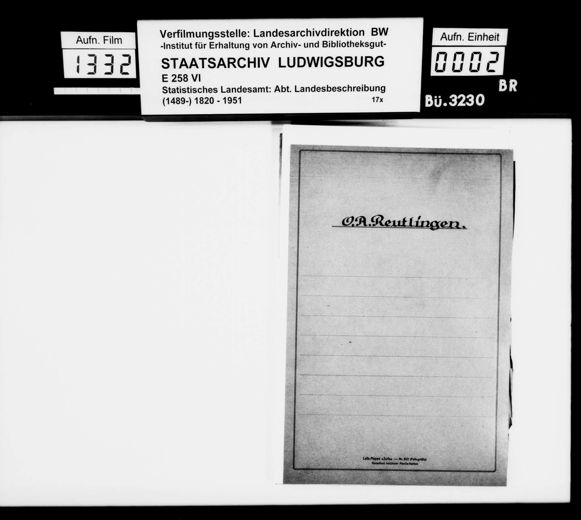Materialsammlung für die Neubearbeitung der OAB, vornehmlich zur Oberamtsstadt, Bild 1
