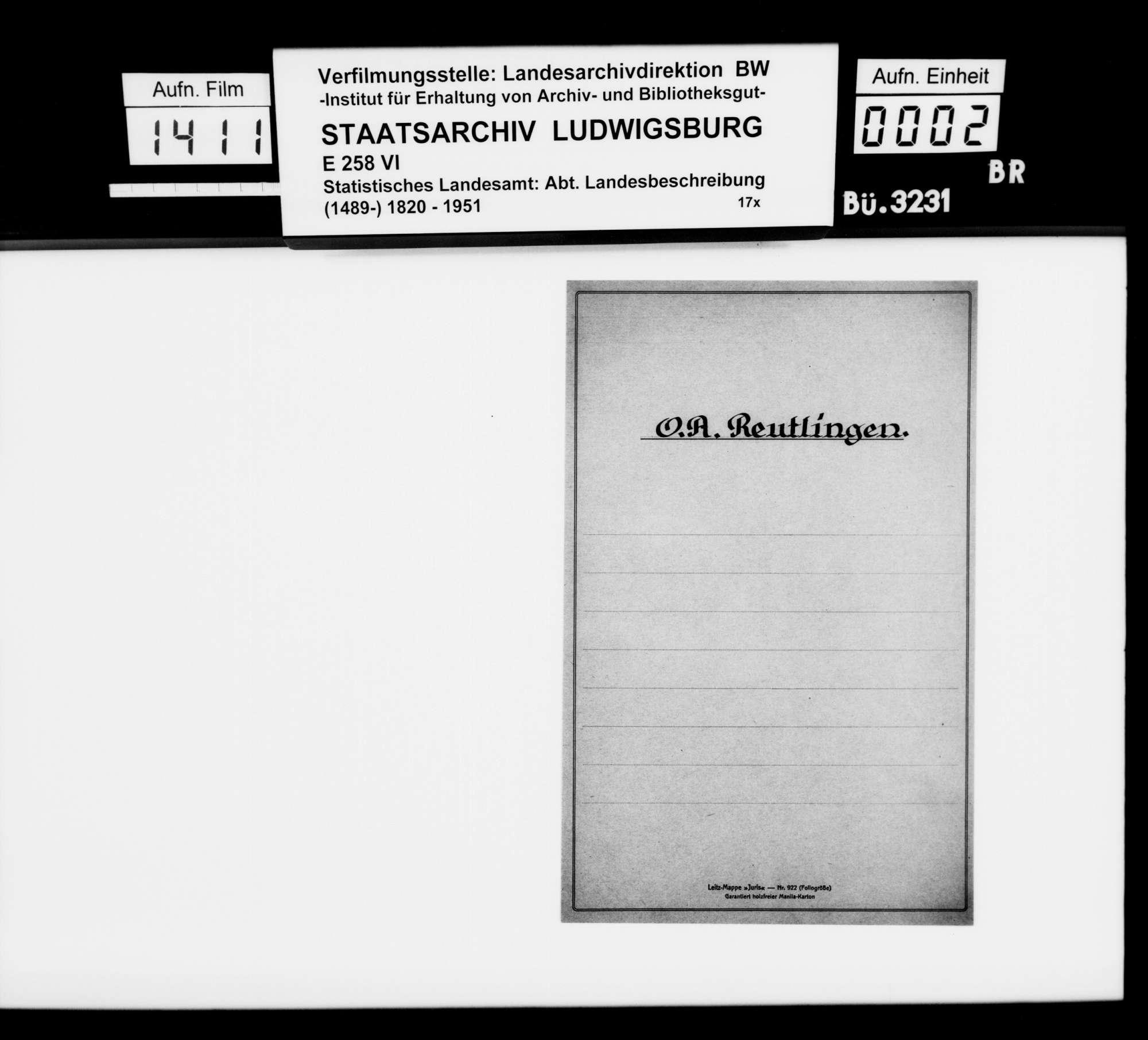 Materialsammlung für die Neubearbeitung der OAB, vornehmlich zu den Amtsorten, Bild 1