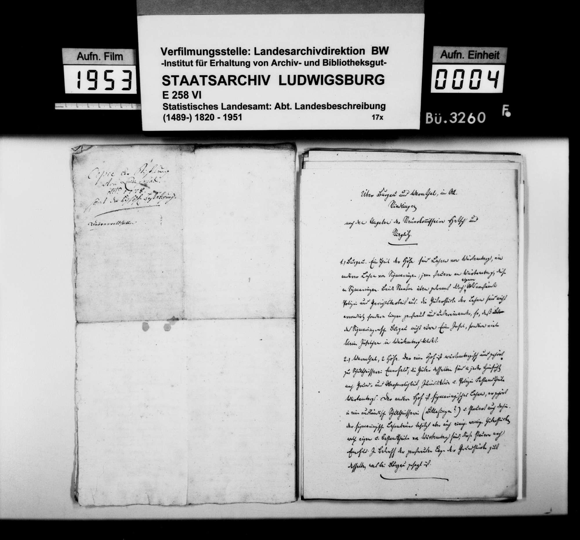 Berichte, Mitteilungen, Abschriften und Listen als Material für die Beschreibung des Oberamts, Bild 3