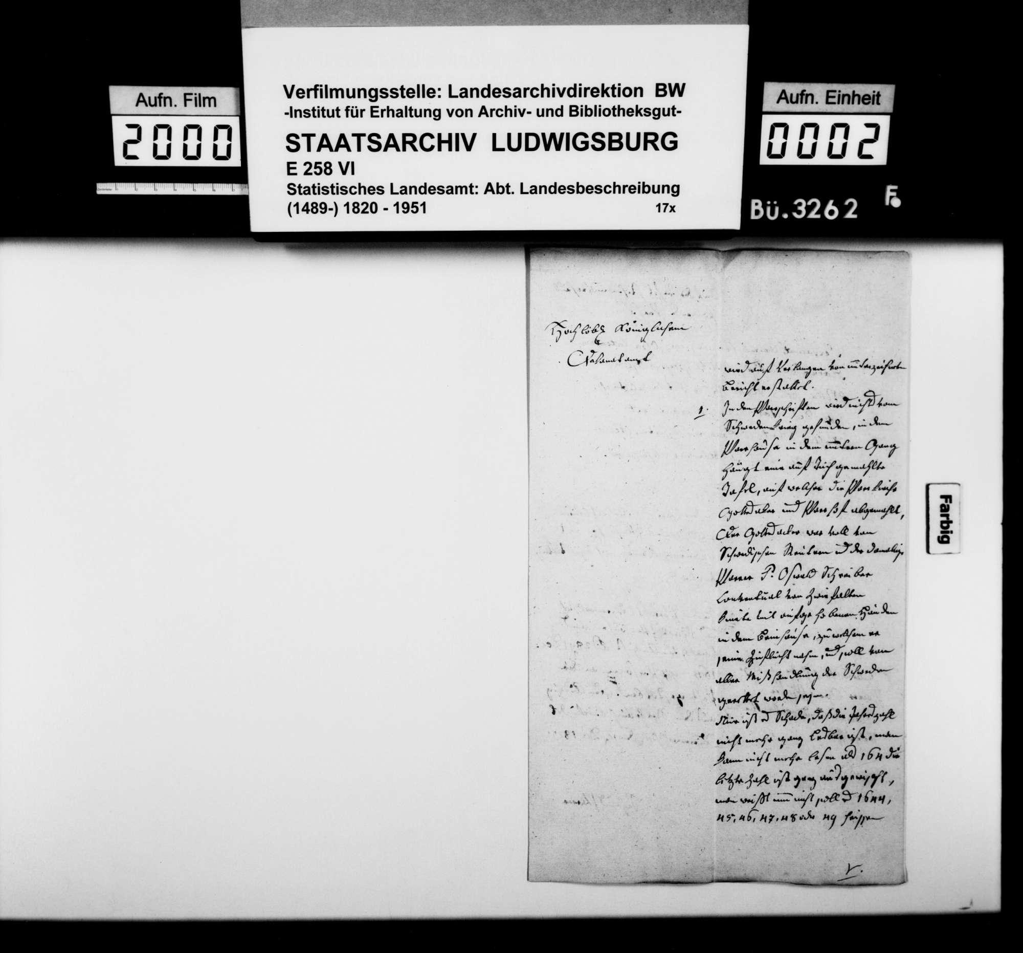 Berichte und Auskünfte an Dekan Ströbele in Riedlingen zur Beschreibung des Oberamts, Bild 1