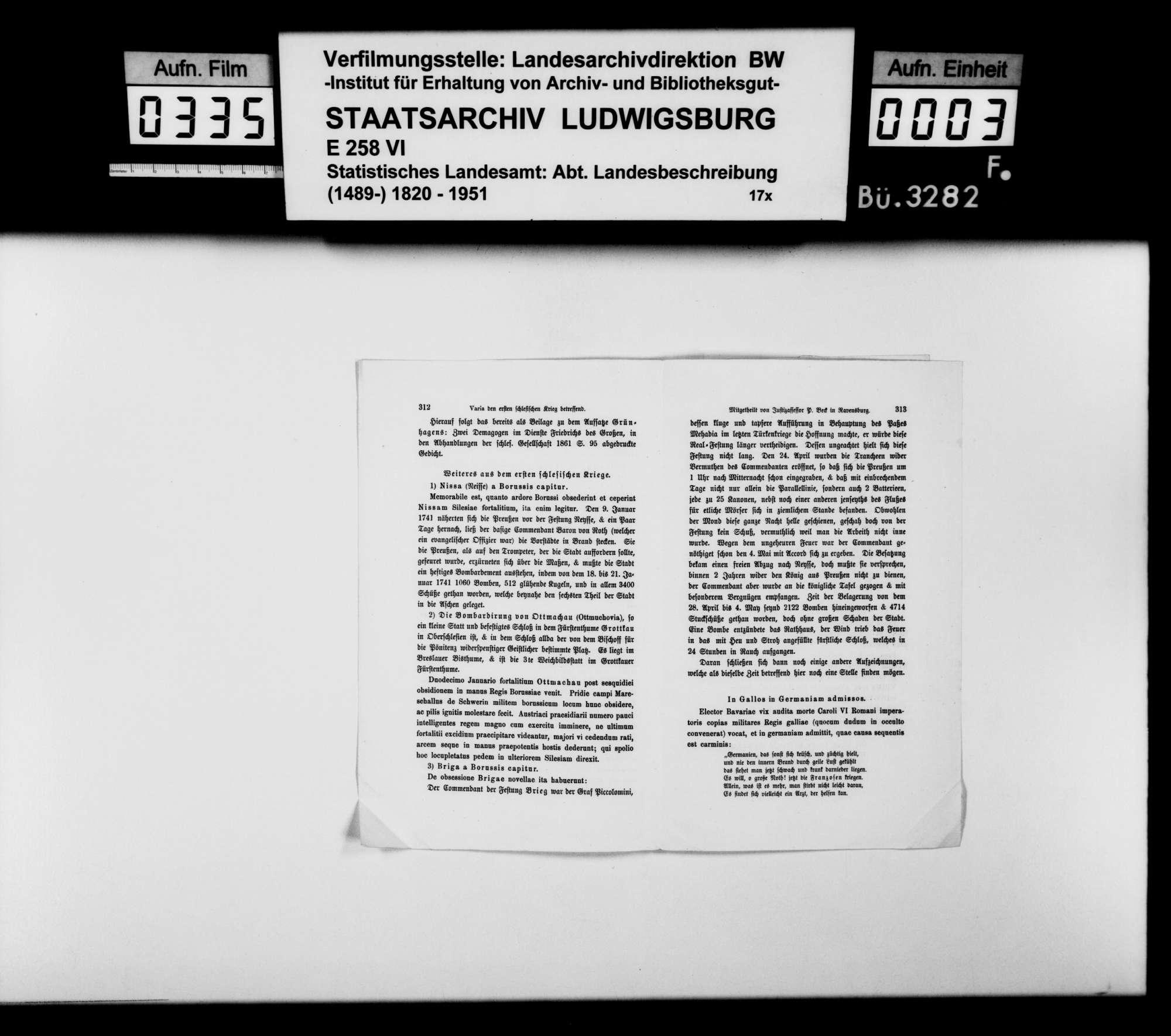 Sammlung gedruckten Materials für eine Neubearbeitung der OAB, Bild 2