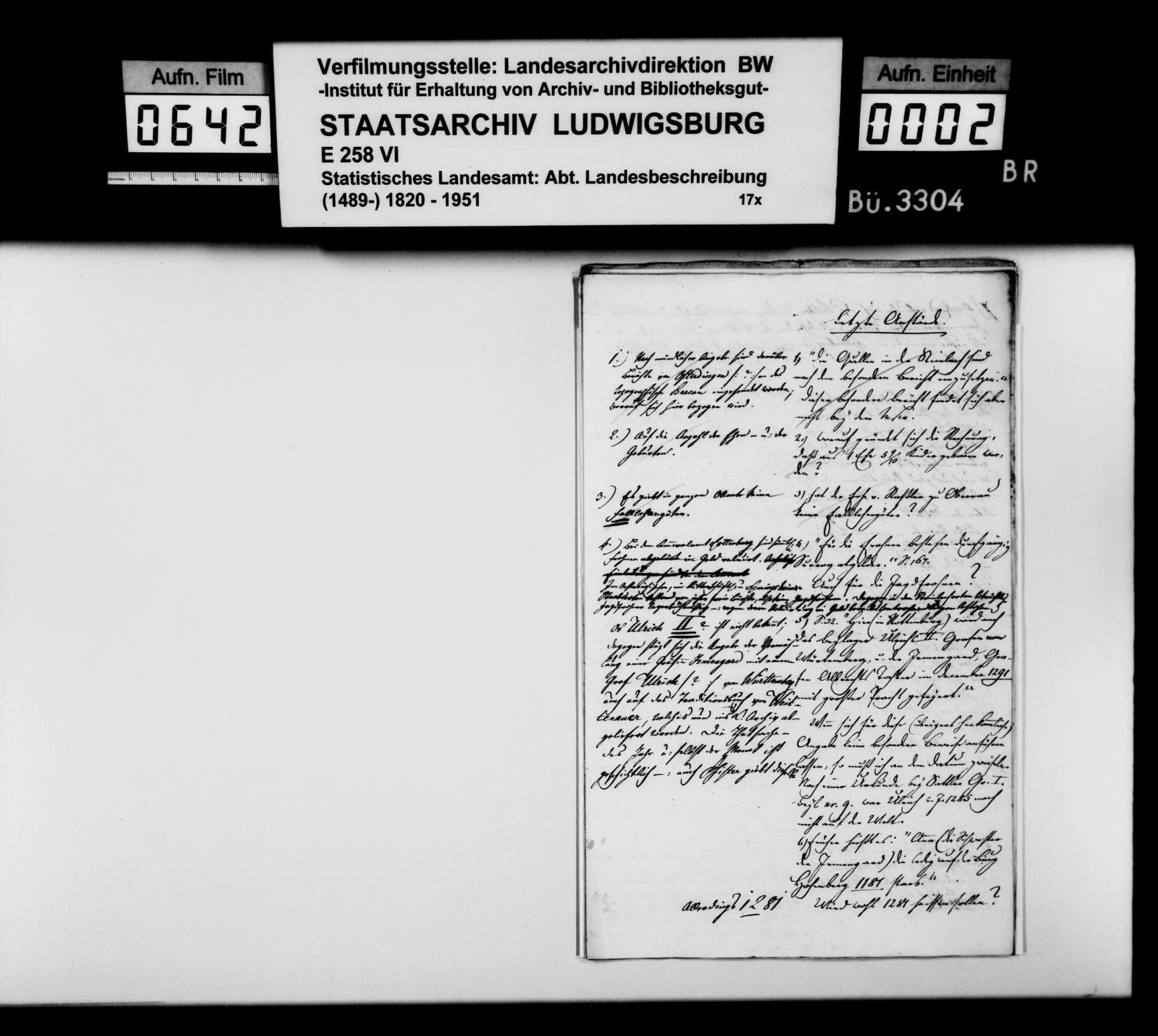 Anstände und Nachfragen des Professors Memminger, amtliche Auskünfte zum Manuskript der OAB, Bild 1