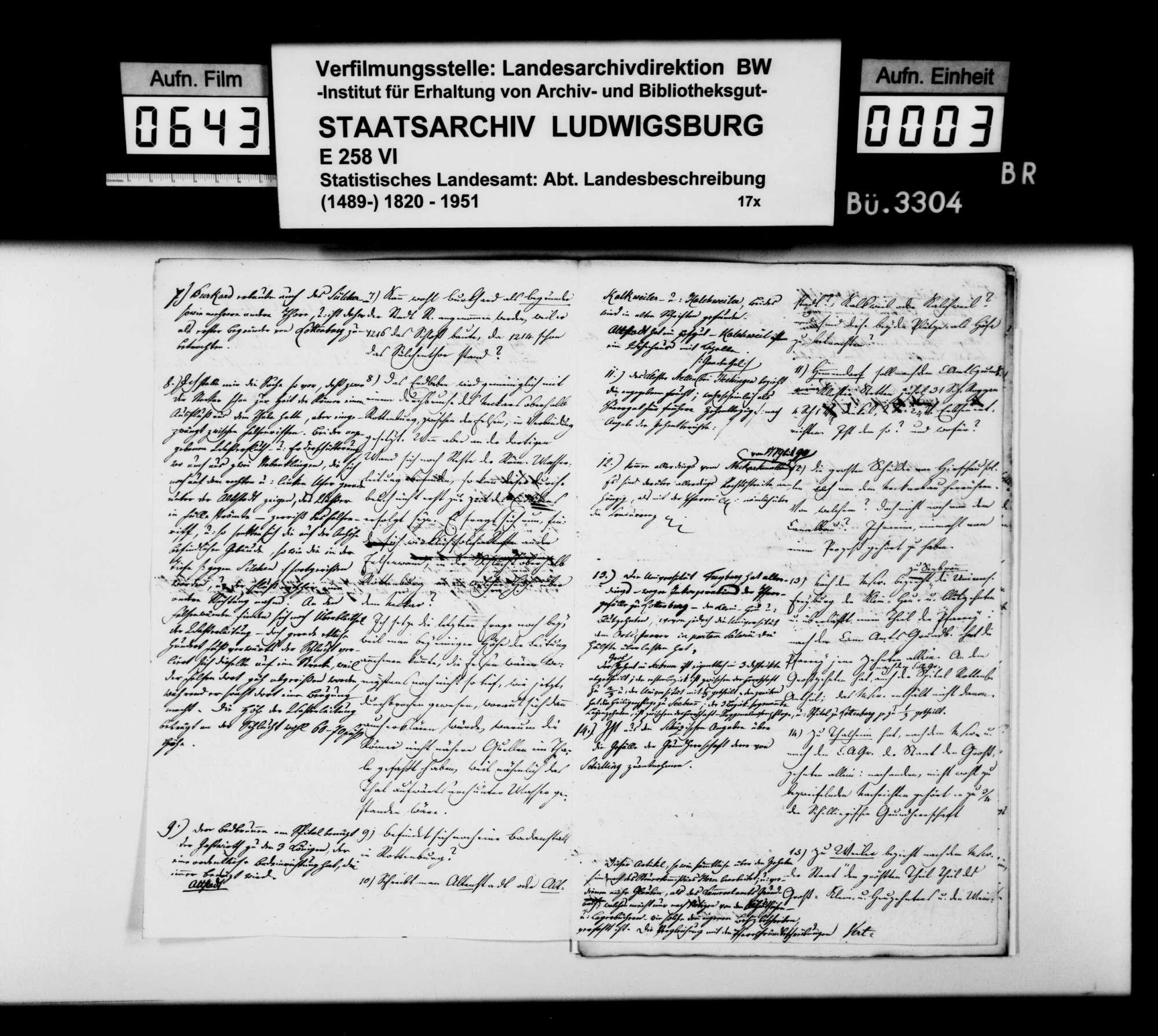 Anstände und Nachfragen des Professors Memminger, amtliche Auskünfte zum Manuskript der OAB, Bild 2