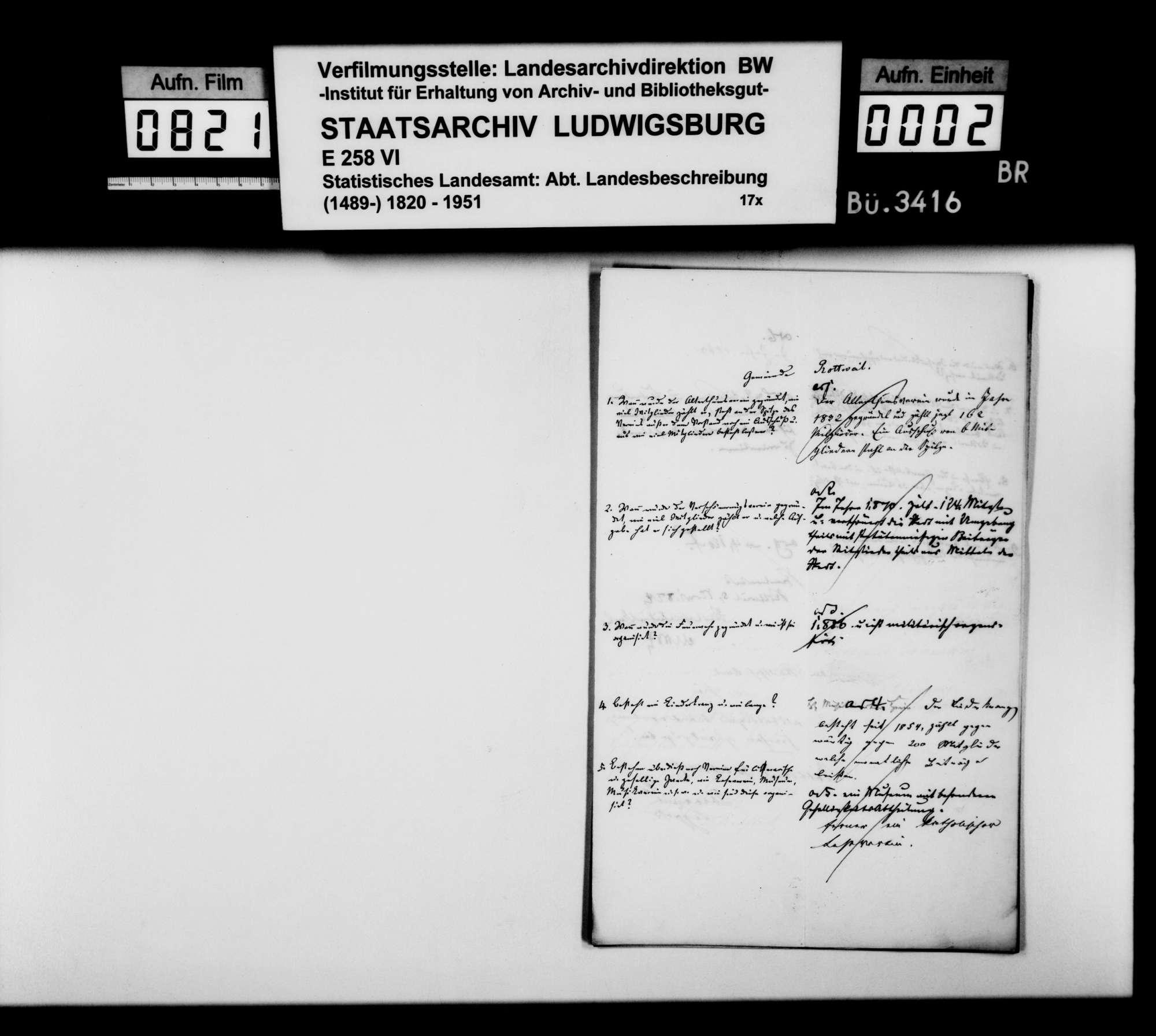 Auskünfte der Schultheißenämter auf Nachfragen [des Finanzrats Karl Eduard Paulus] zur Ortsbeschreibung, Bild 1