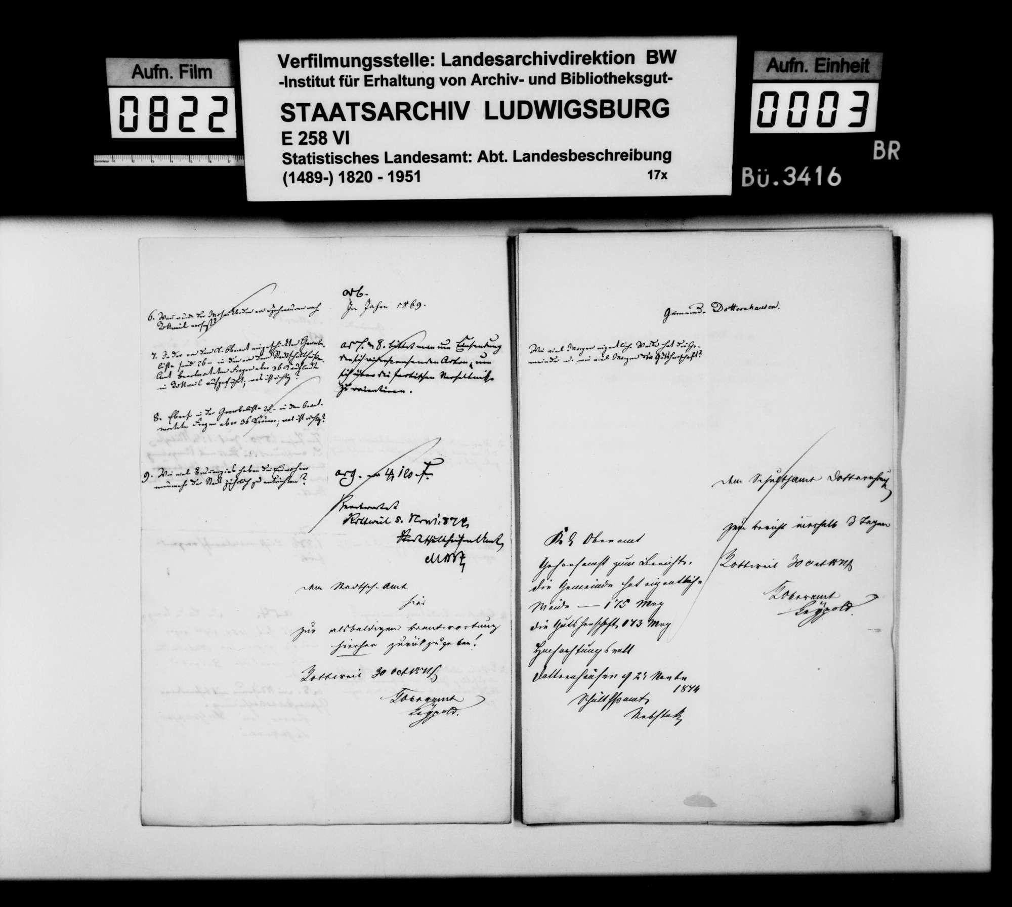 Auskünfte der Schultheißenämter auf Nachfragen [des Finanzrats Karl Eduard Paulus] zur Ortsbeschreibung, Bild 2