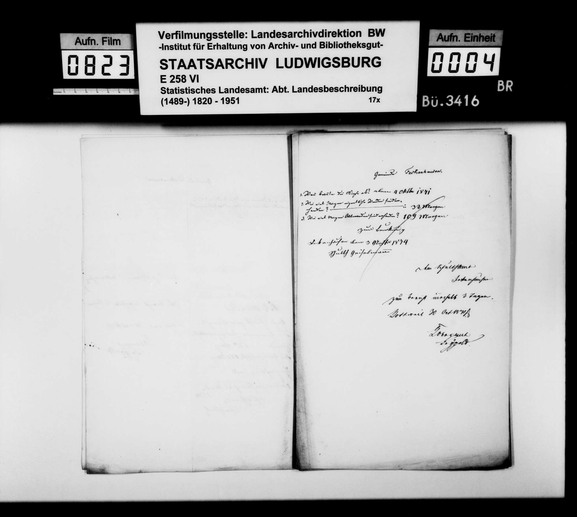 Auskünfte der Schultheißenämter auf Nachfragen [des Finanzrats Karl Eduard Paulus] zur Ortsbeschreibung, Bild 3