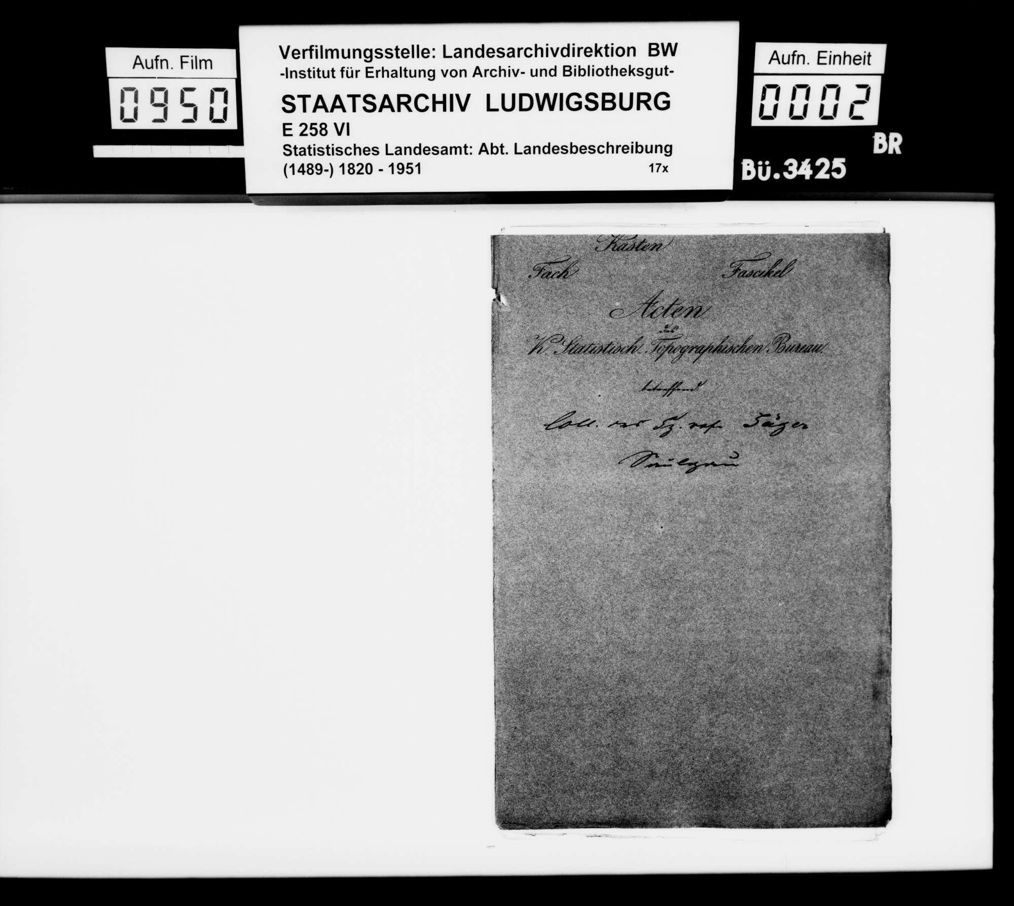 Historiographische Kollektaneen des Finanzreferendärs Jäger, Mittelalter bis 17. Jh., nach Oberamtsorten, Bild 1