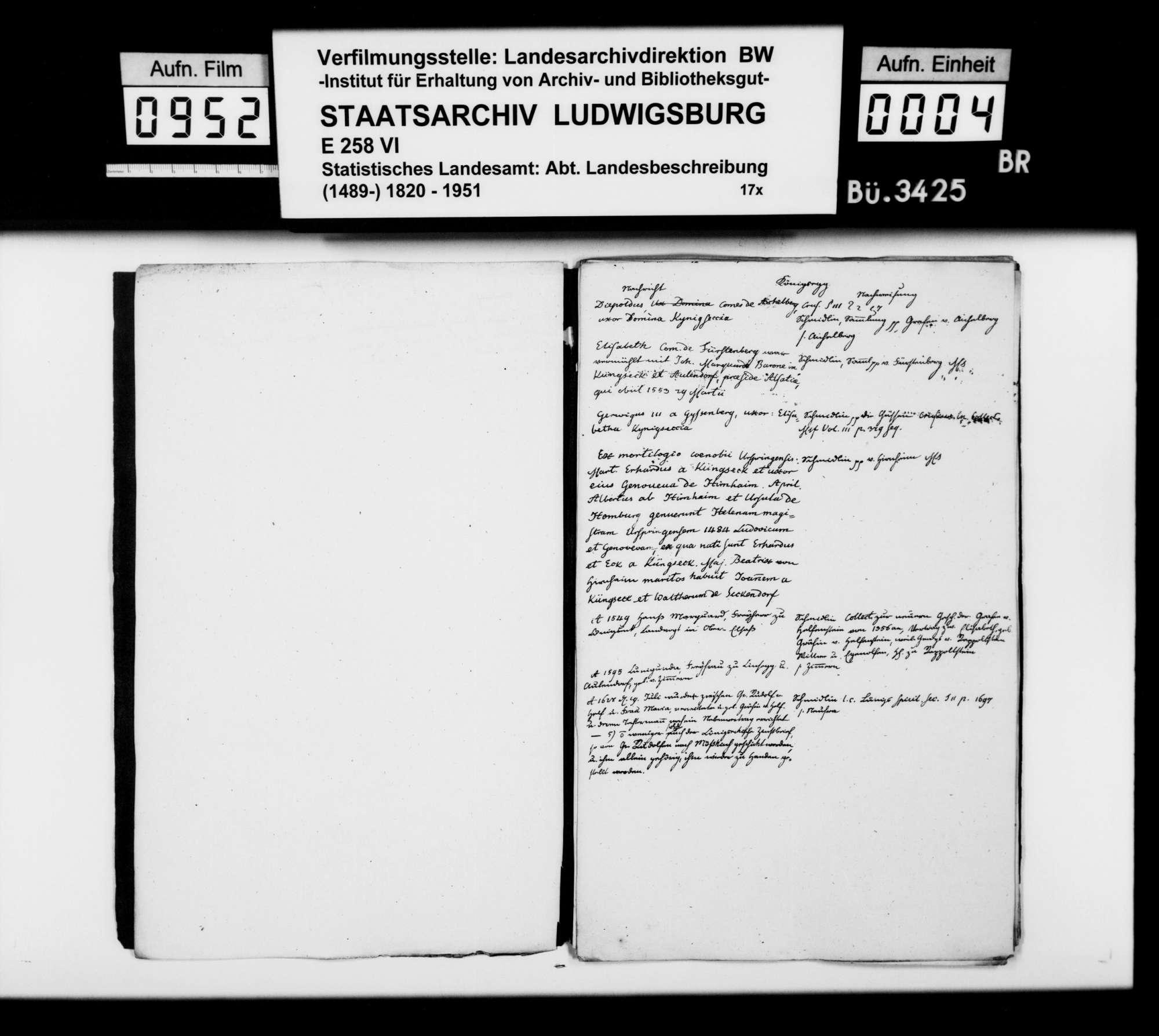 Historiographische Kollektaneen des Finanzreferendärs Jäger, Mittelalter bis 17. Jh., nach Oberamtsorten, Bild 3
