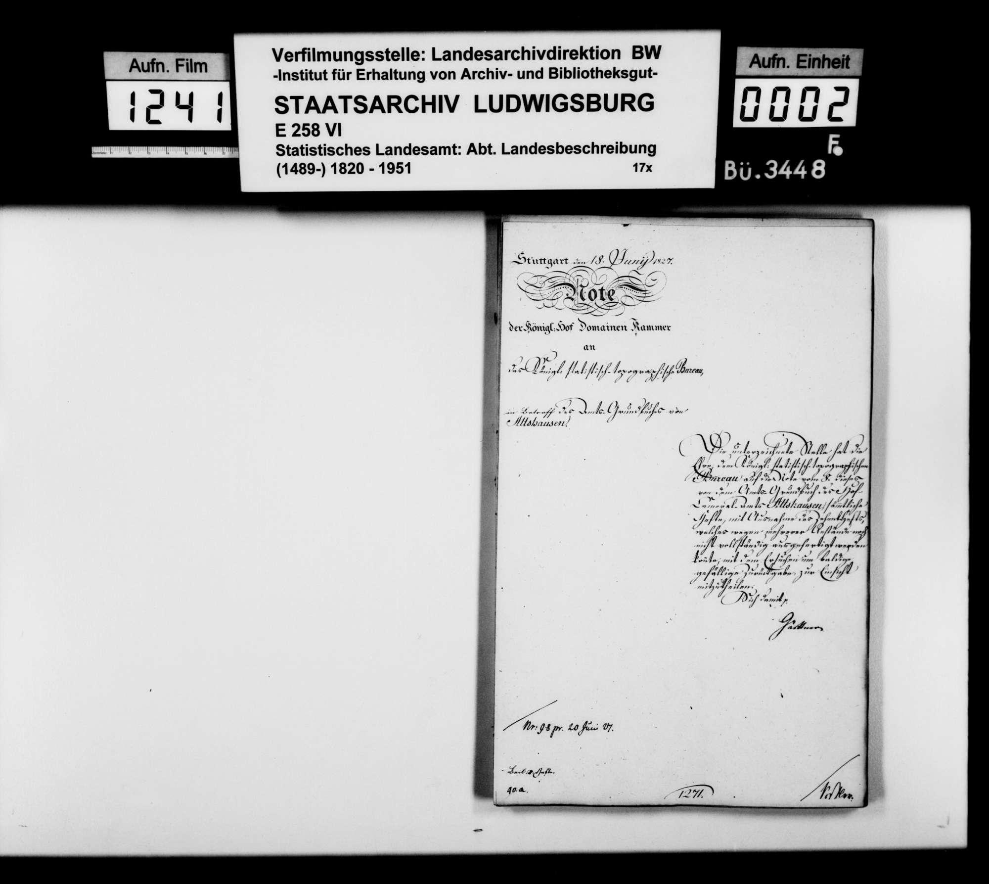 Auszüge aus dem und Kopie von Heft I des Kameralamtsgrundbuchs Altshausen, Bild 1