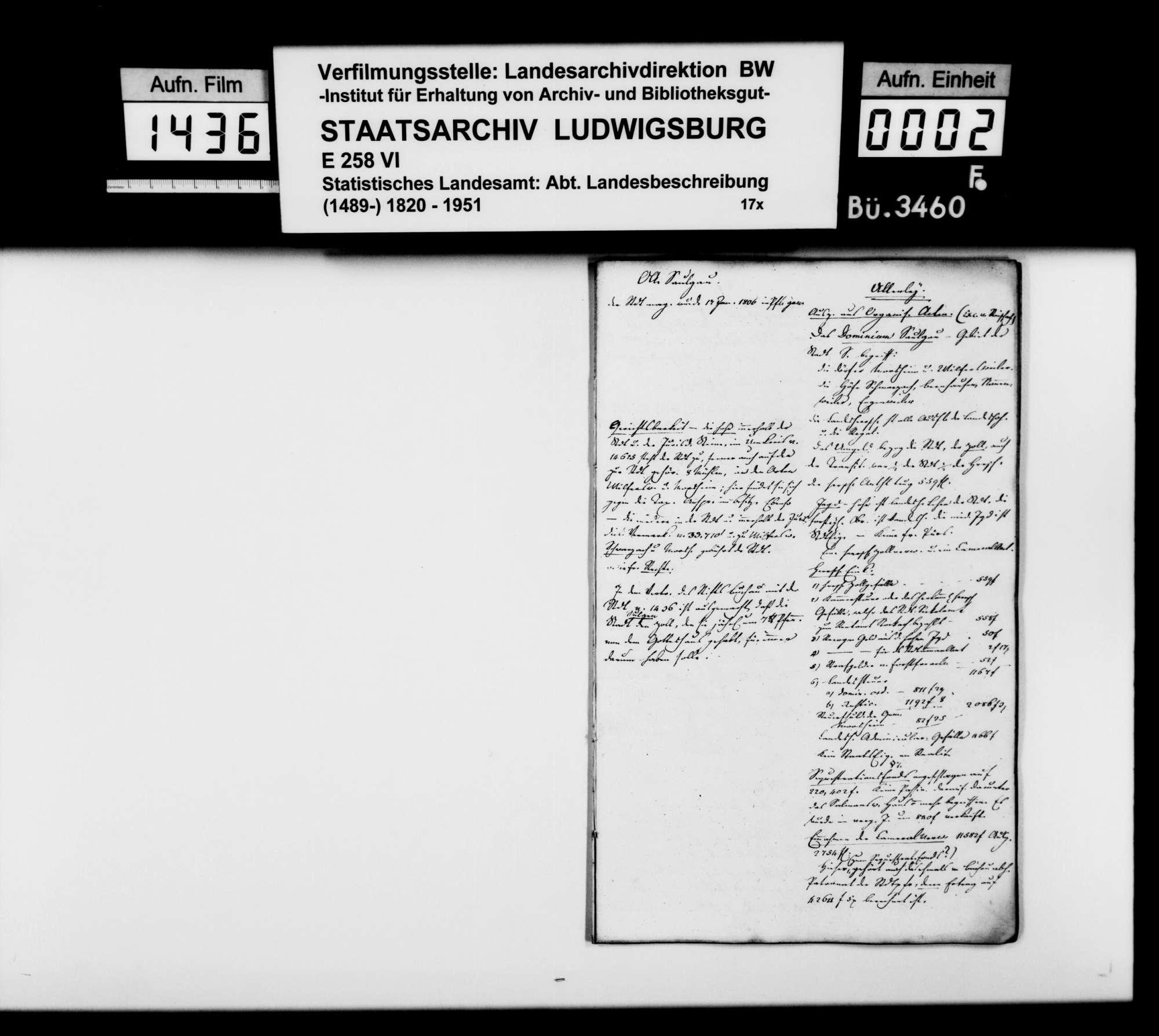 Auszüge aus Organisationsakten des [Regierungspräsidenten] von Reischach zum Dominium Saulgau und andere historische und statistische Notizen [des Professors Memminger] vor allem zu Mengen, Bild 1