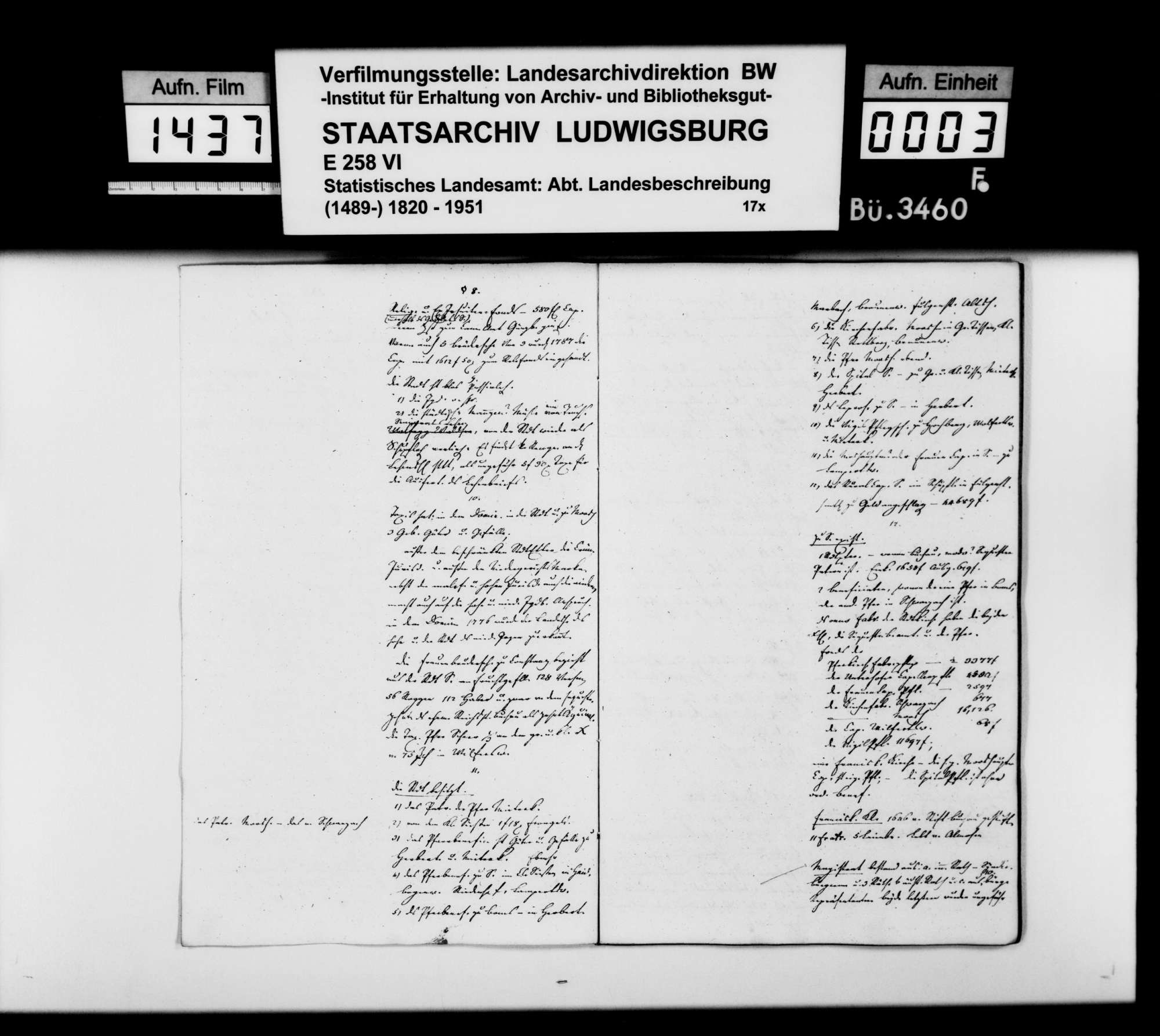 Auszüge aus Organisationsakten des [Regierungspräsidenten] von Reischach zum Dominium Saulgau und andere historische und statistische Notizen [des Professors Memminger] vor allem zu Mengen, Bild 2
