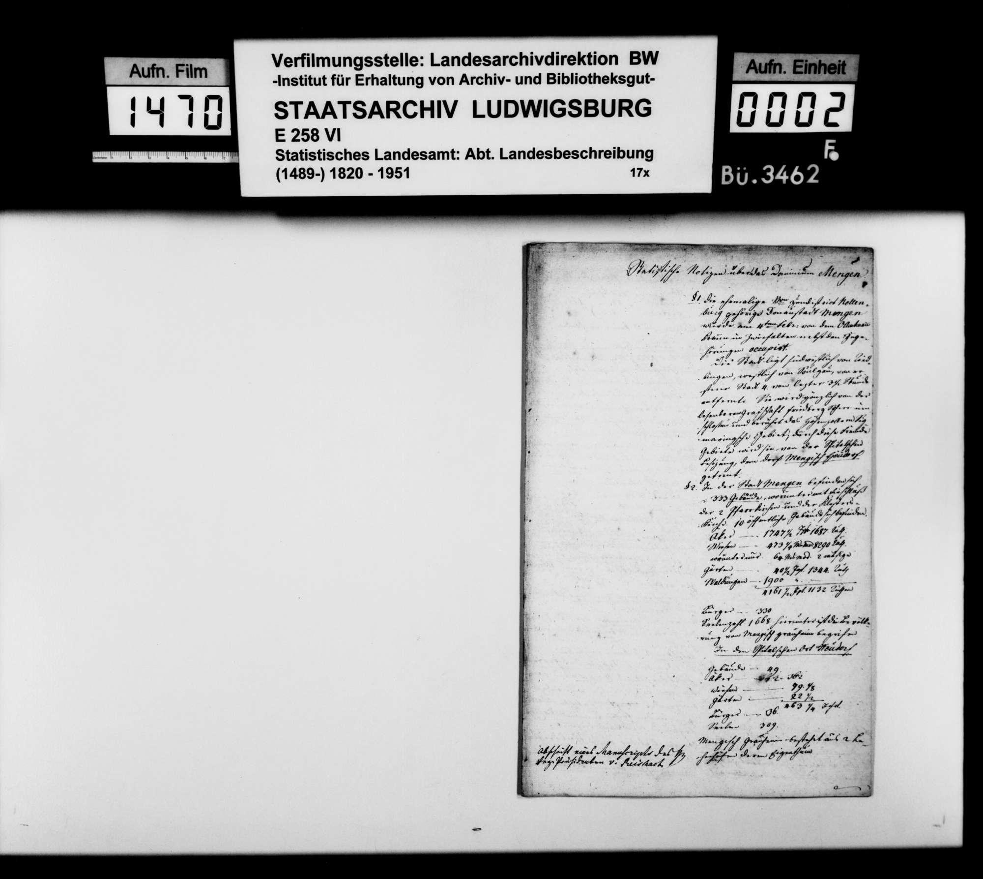 Statistische Notizen über das Dominium Mengen, in der Abschrift eines Manuskripts des Regierungspräsidenten von Reischach, Bild 1