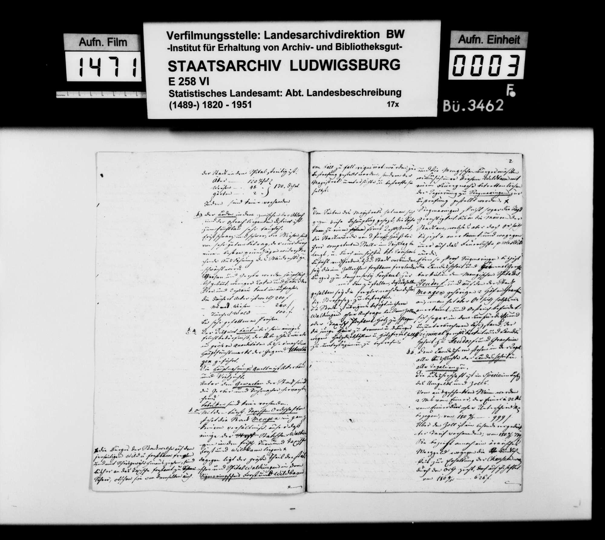 Statistische Notizen über das Dominium Mengen, in der Abschrift eines Manuskripts des Regierungspräsidenten von Reischach, Bild 2