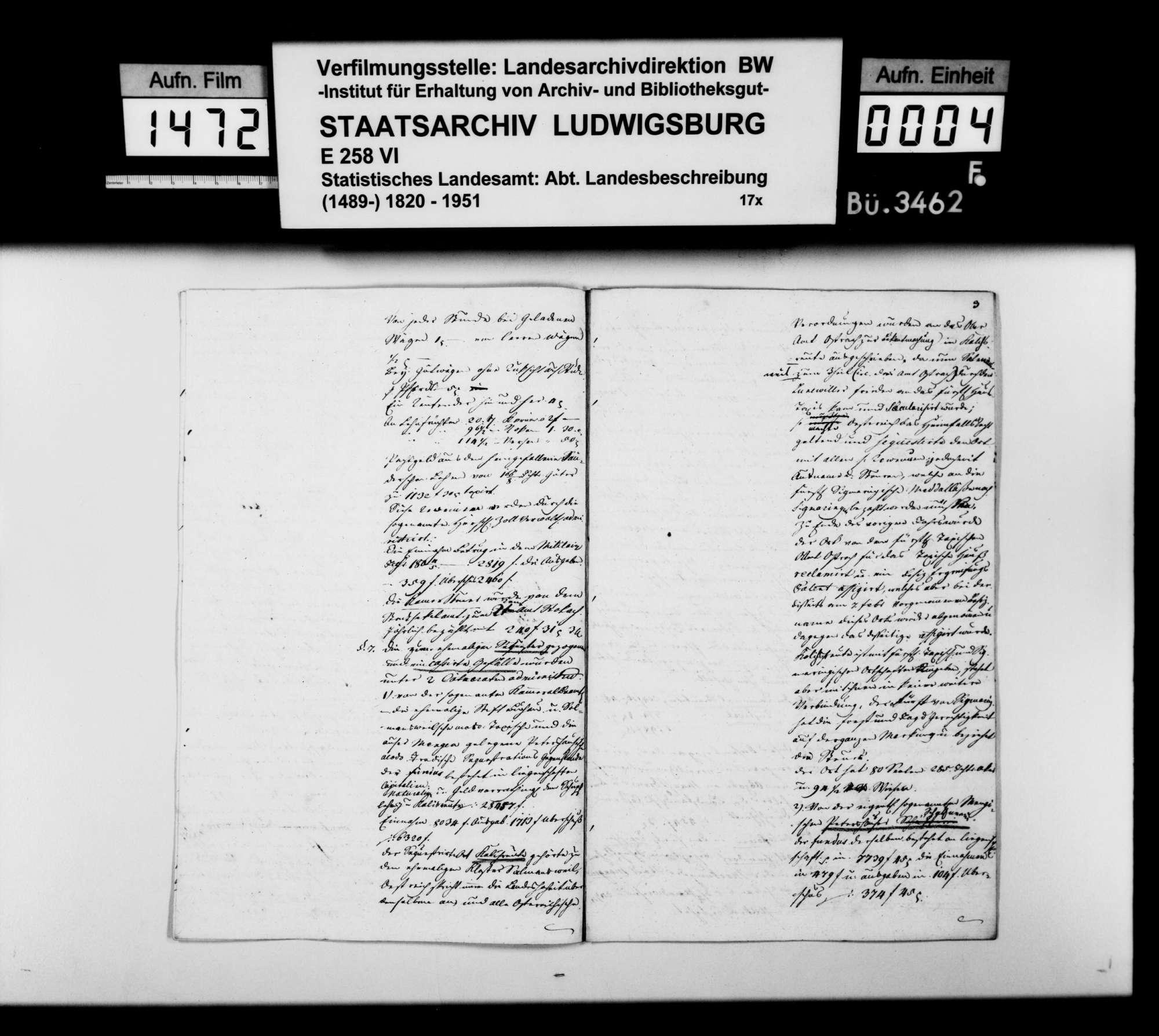Statistische Notizen über das Dominium Mengen, in der Abschrift eines Manuskripts des Regierungspräsidenten von Reischach, Bild 3