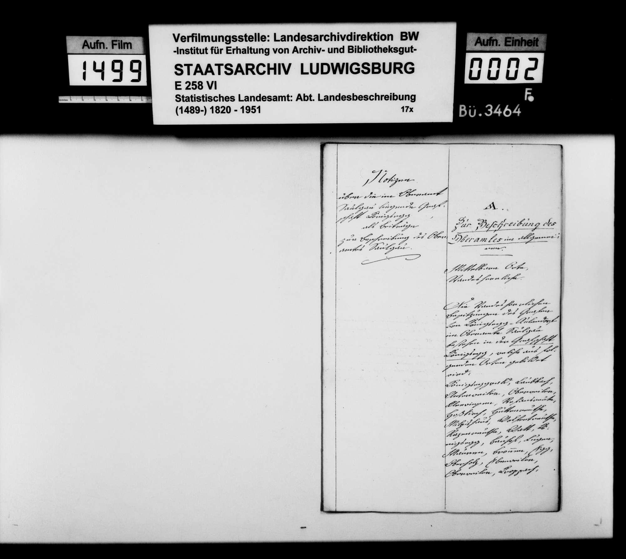 Domäneninspektor Mesmer aus Aulendorf über das Vermögen der Grafen von Königsegg-Aulendorf im Oberamt Saulgau [in der Reihenfolge der OAB], Bild 1